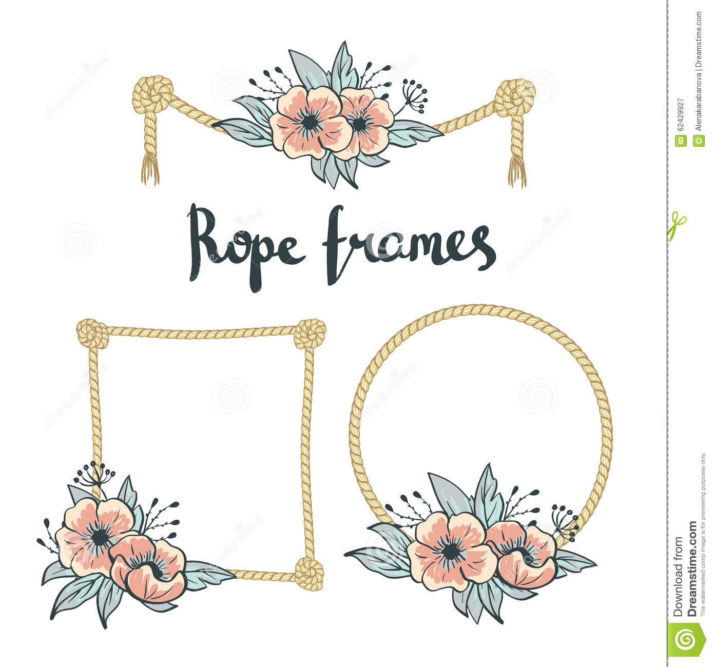 Set Of Simple Rope Frames Graphic Designs On White Background With