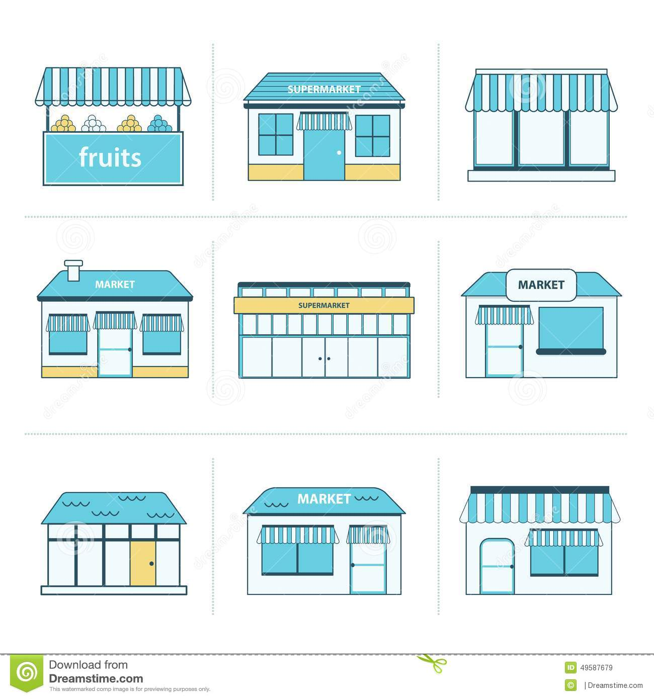 Set of simple store building icons stock vector image for Store building design
