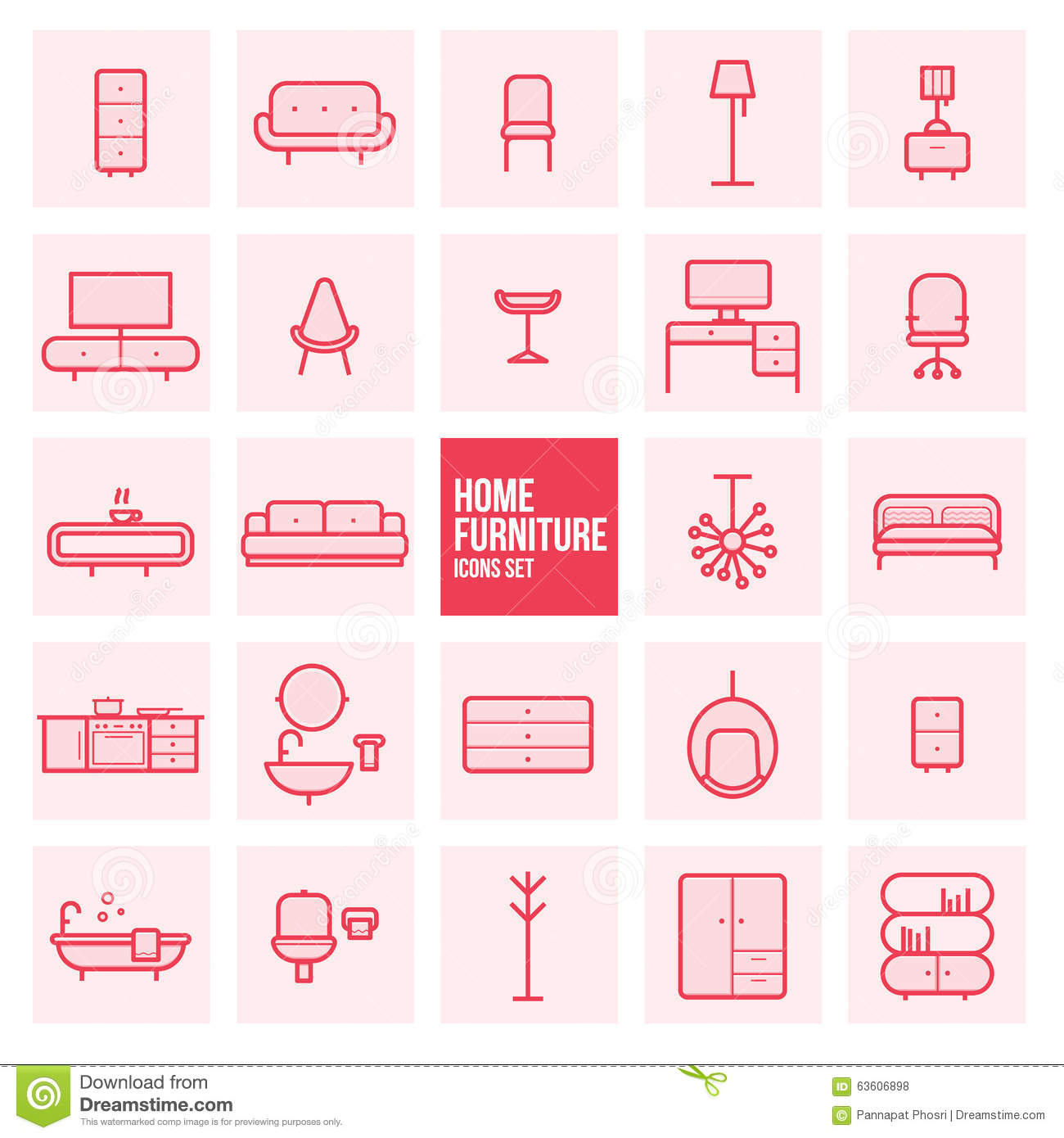 Home Furnishing Websites: Set Of Simple Thin Line Design Home Furniture Vector Icons