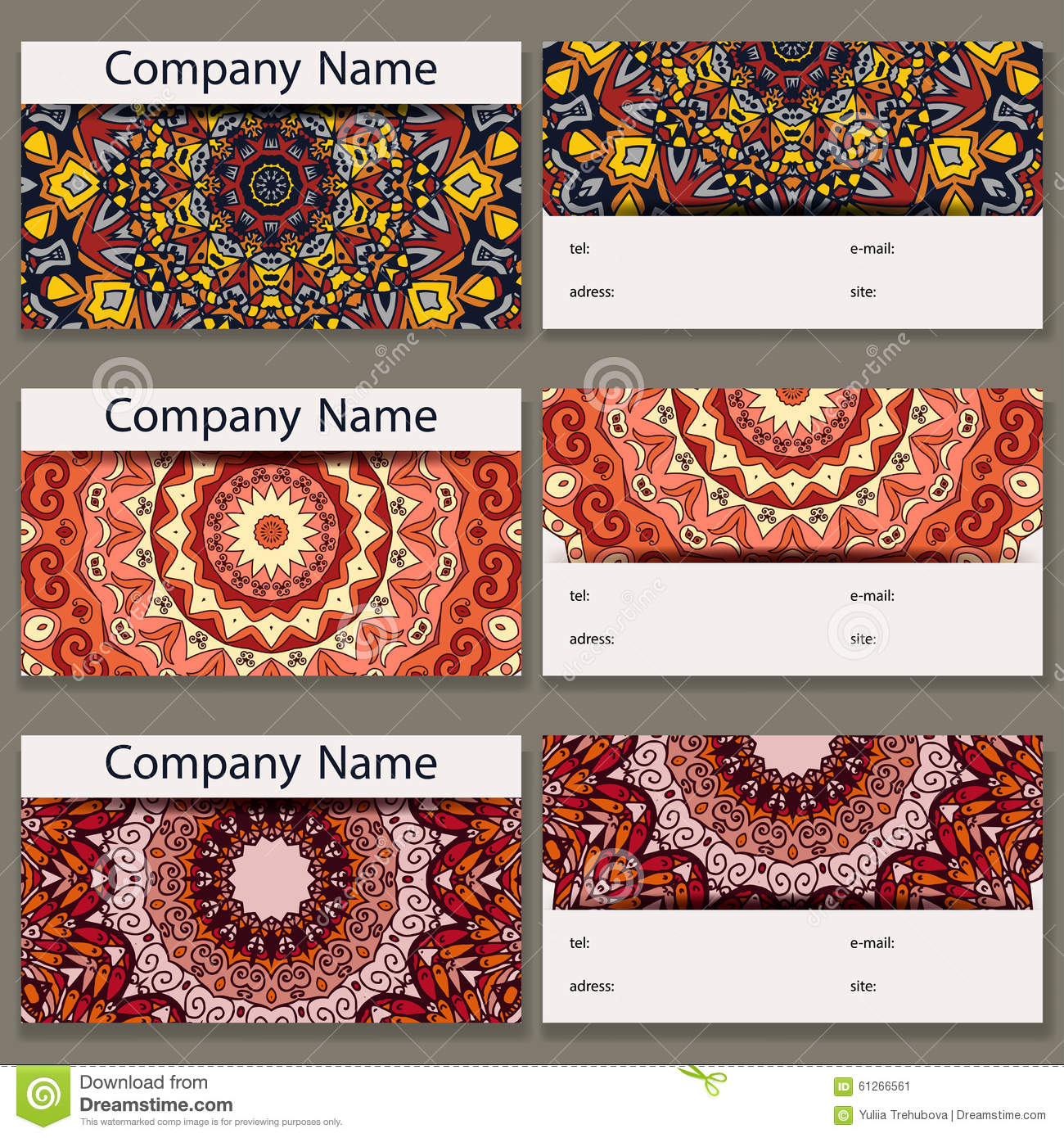 Set of six business cards. Vintage pattern in retro style with mandala. Hand drawn Islam, Arabic, Indian, lace pattern