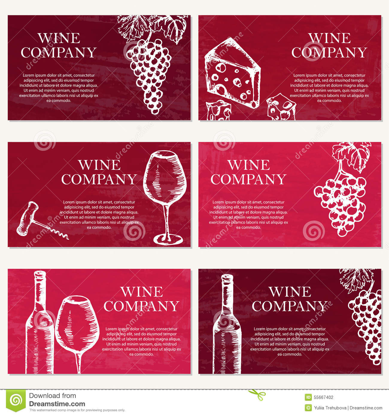 Set Of Six Business Cards. Wine Company. Restaurant Theme. Vecto ...