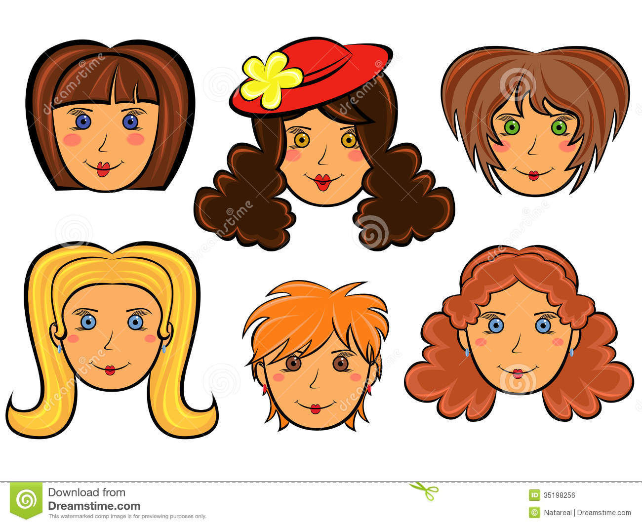 With Six Funny Women Faces White Background Hand Drawing Cartoon