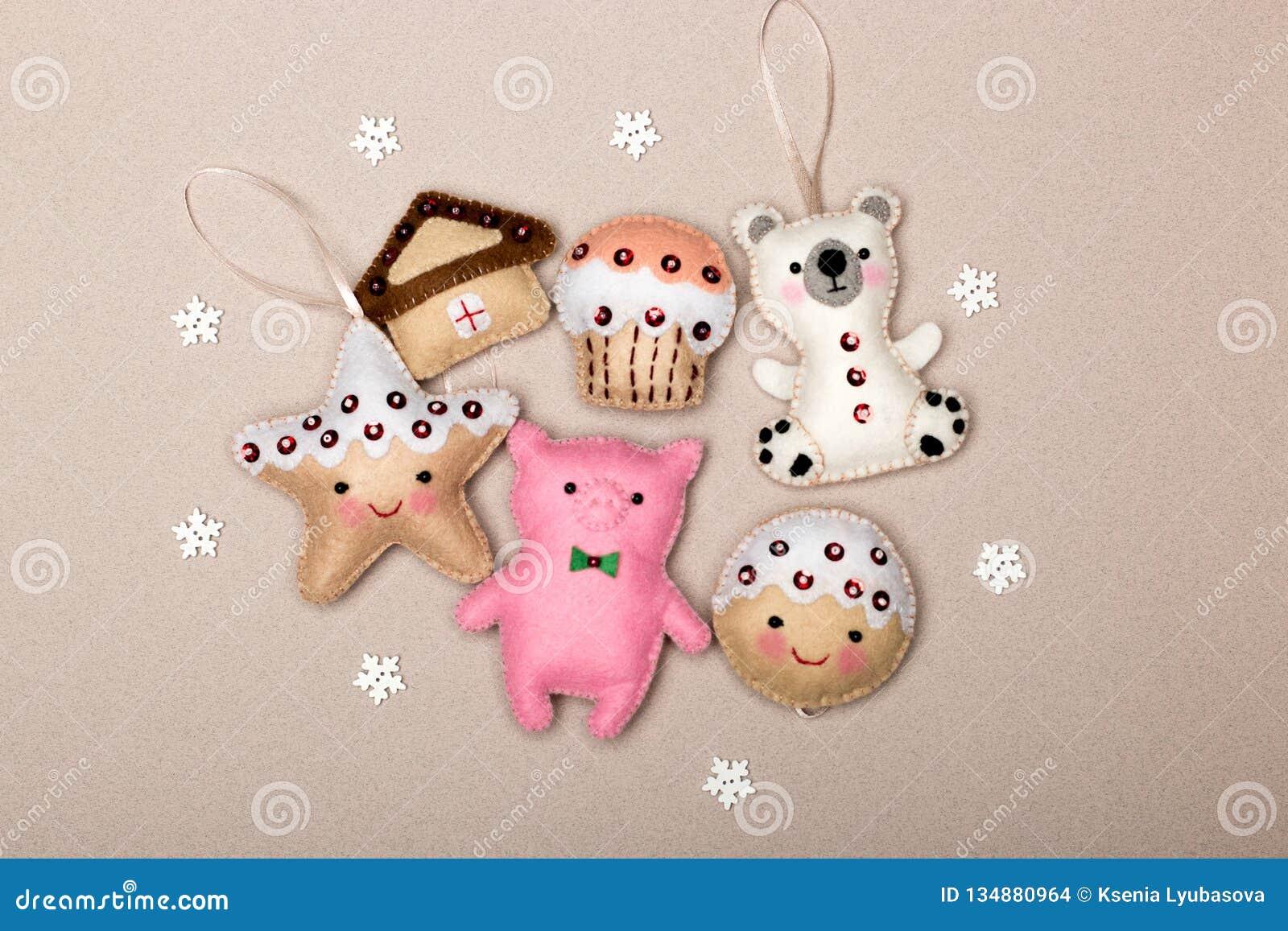 Set of six Christmas decorations handmade felt