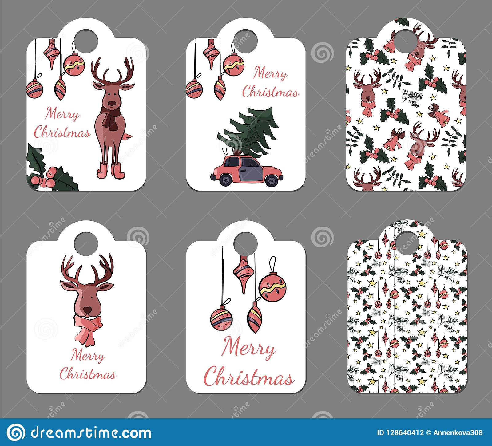 set of six cute tags for new year and christmas holidays