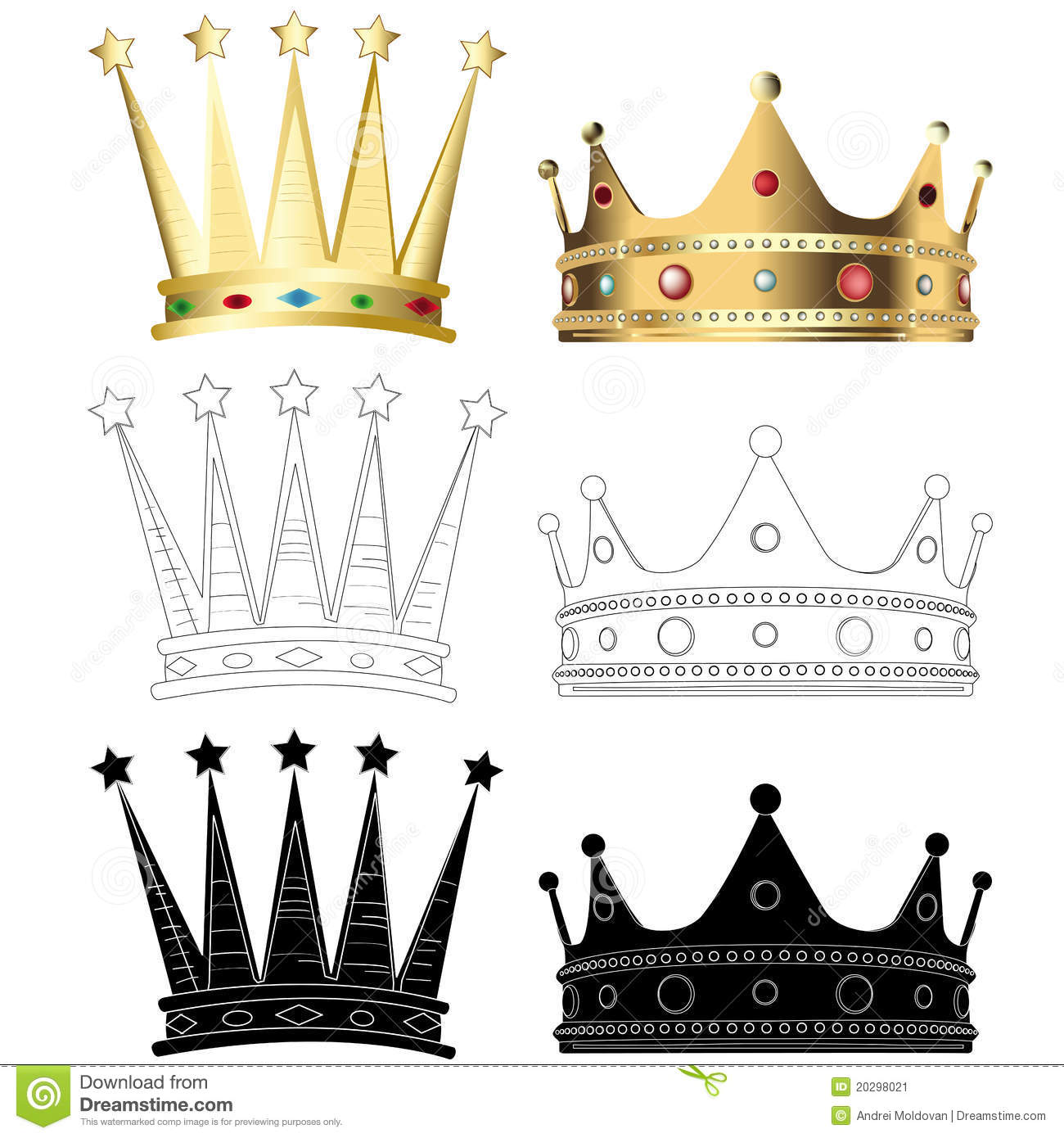 Set Of Six Different Crowns Stock Image - Image: 20298021