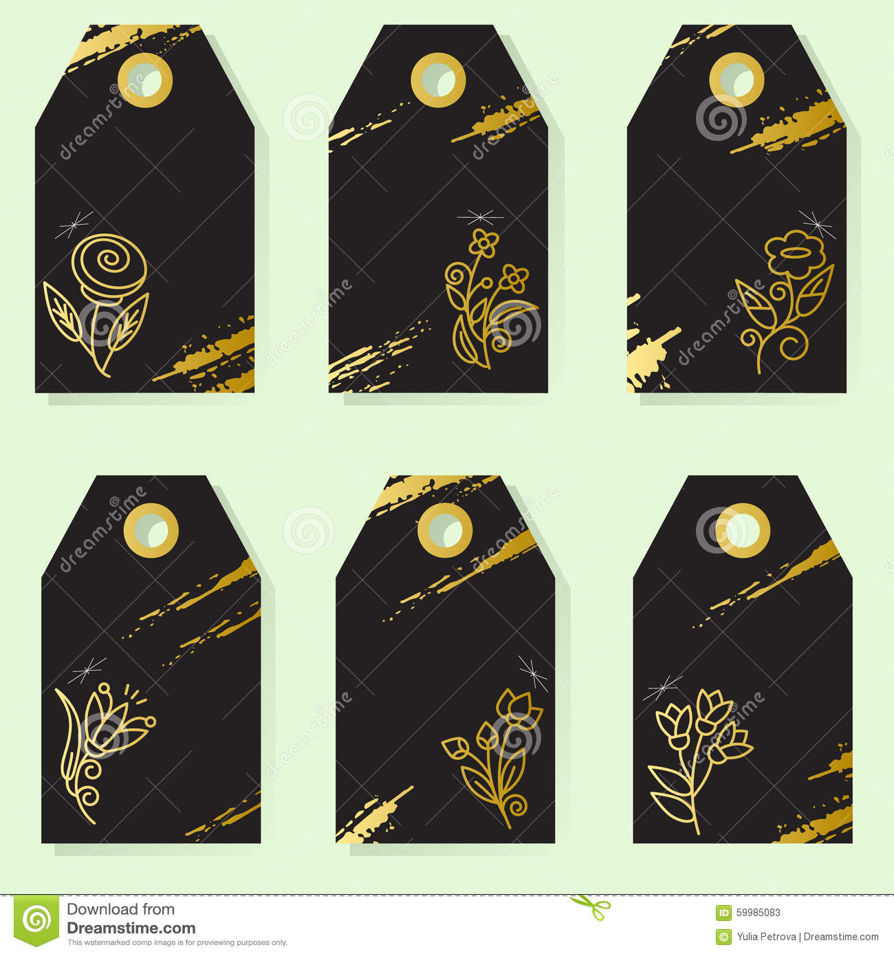 set of six elegant labels with gold flower illustration 59985083
