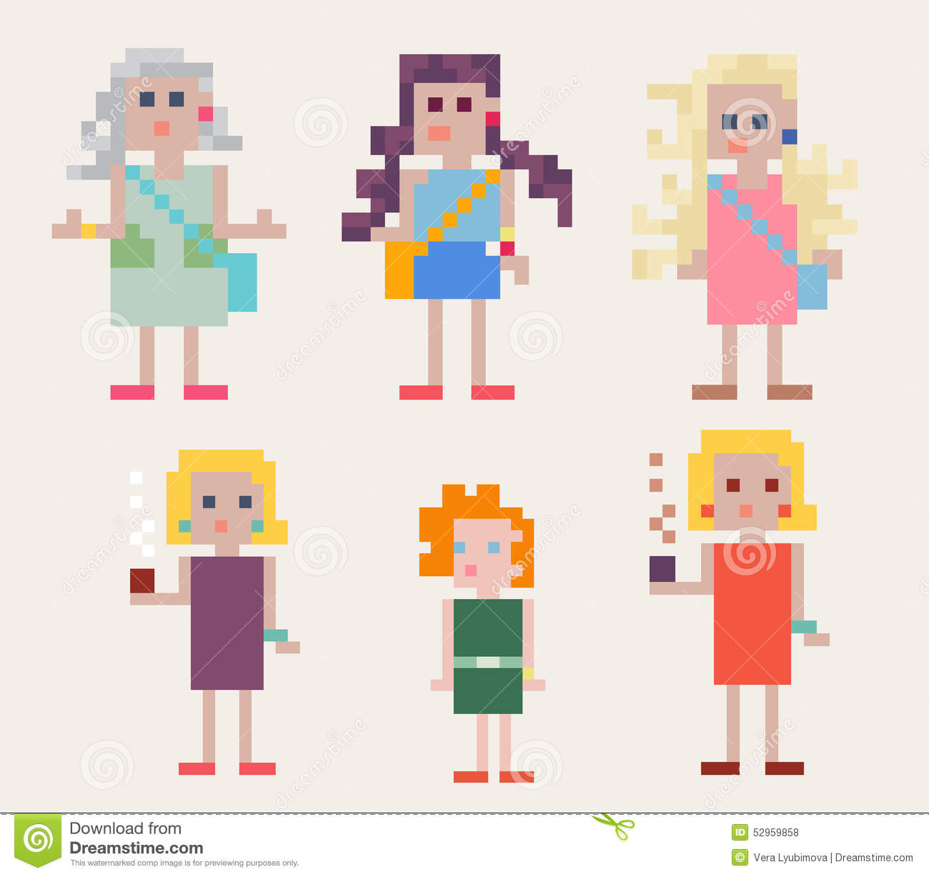 Set of six female pixel people stock vector illustration for Pixel people interior designer