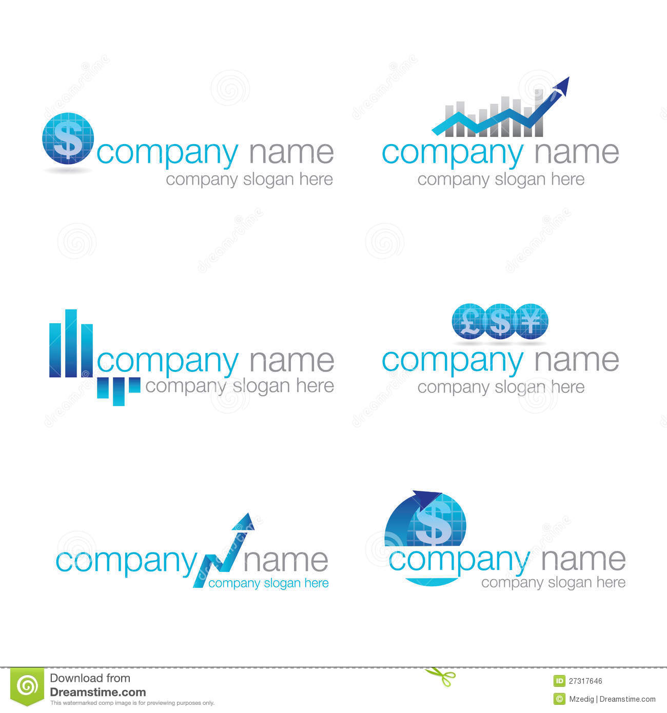 Set of six logos suitable for companies in the financial and corporate ...
