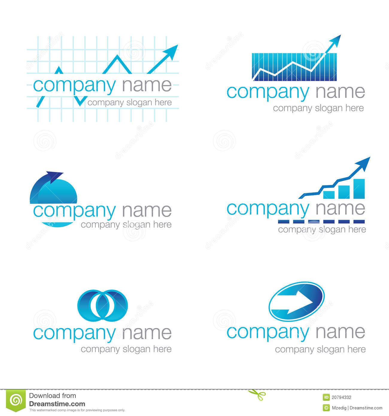 Corporate Finance: Set Of Six Financial Logos (vector) Stock Photography