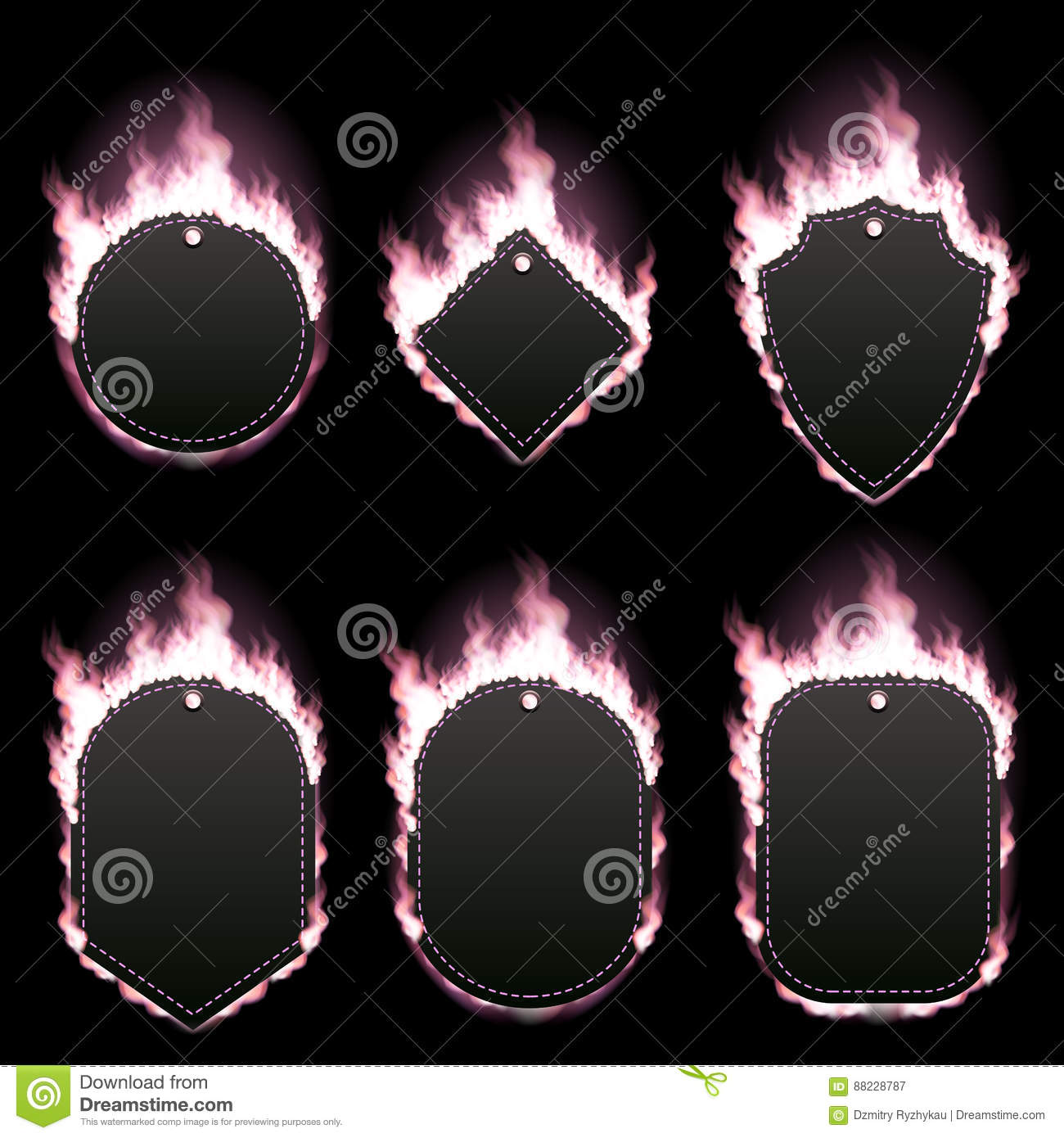 Set Of Six Frames Surrounded With Pink Flame Stock Illustration