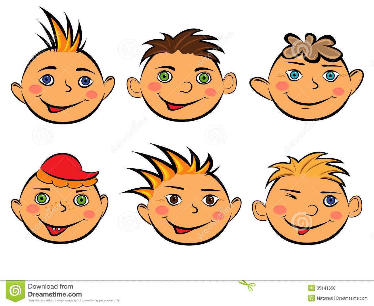 Set Of Cartoon Childrens Faces Stock Vector Art More: Set Of Six Funny Boys Faces Stock Vector