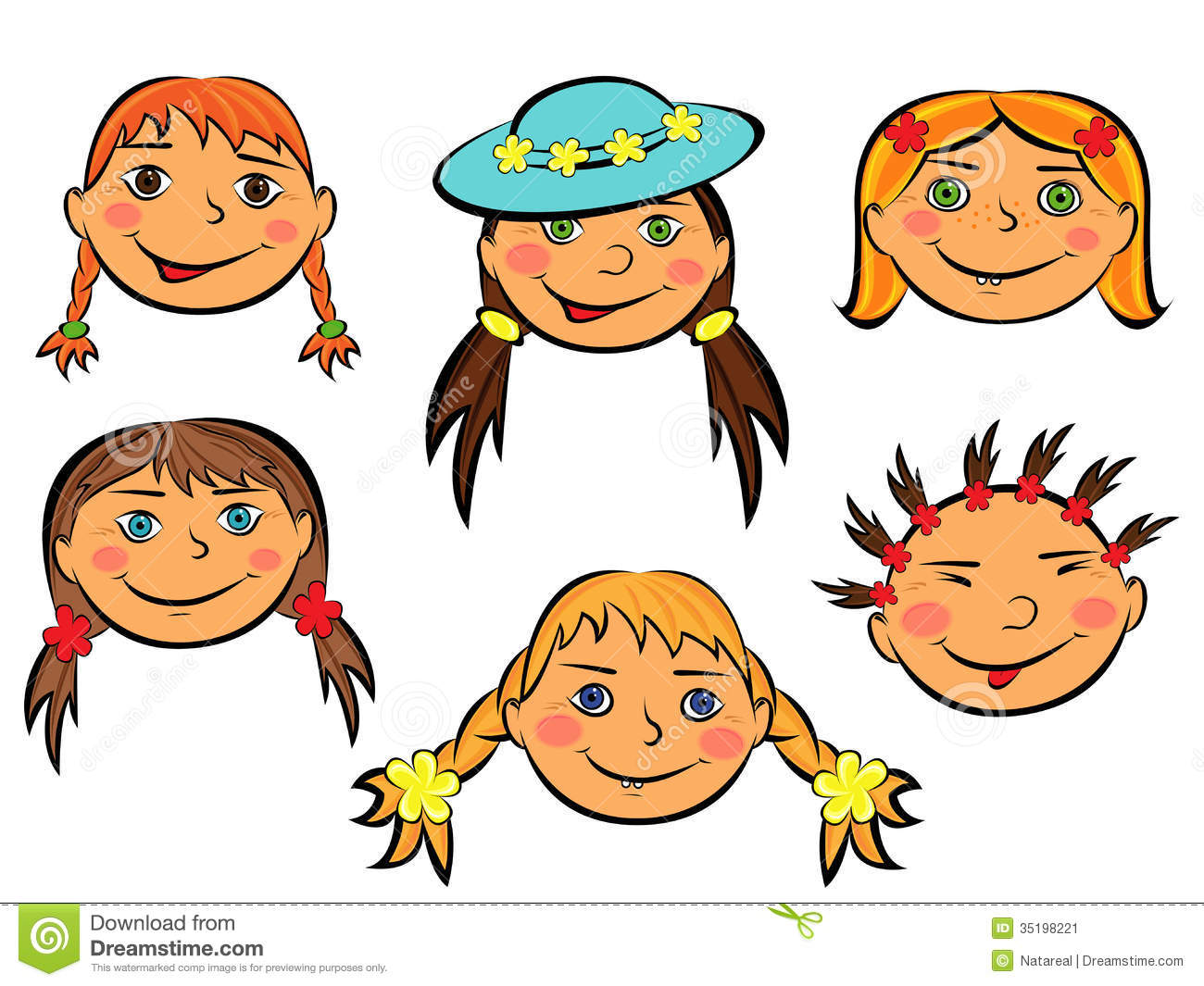 Set Of Cartoon Childrens Faces Stock Vector Art More: Set Of Six Funny Girls Faces Stock Vector