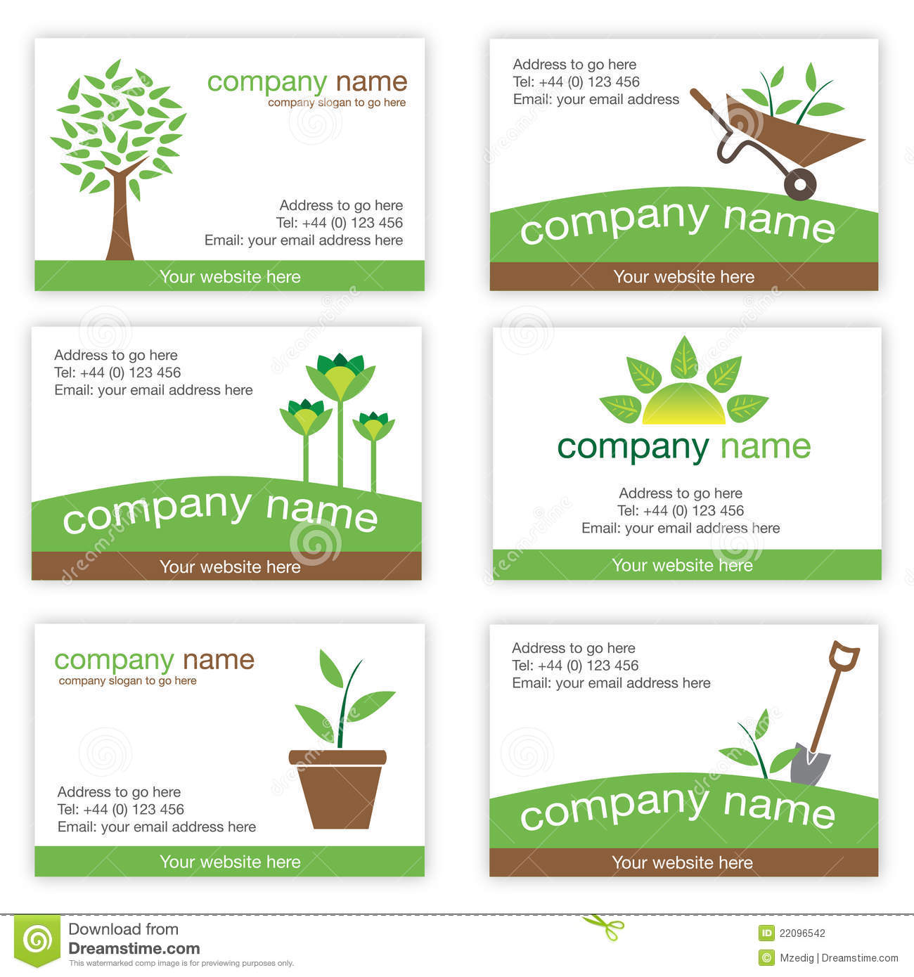 set of six gardening and nature business cards stock vector