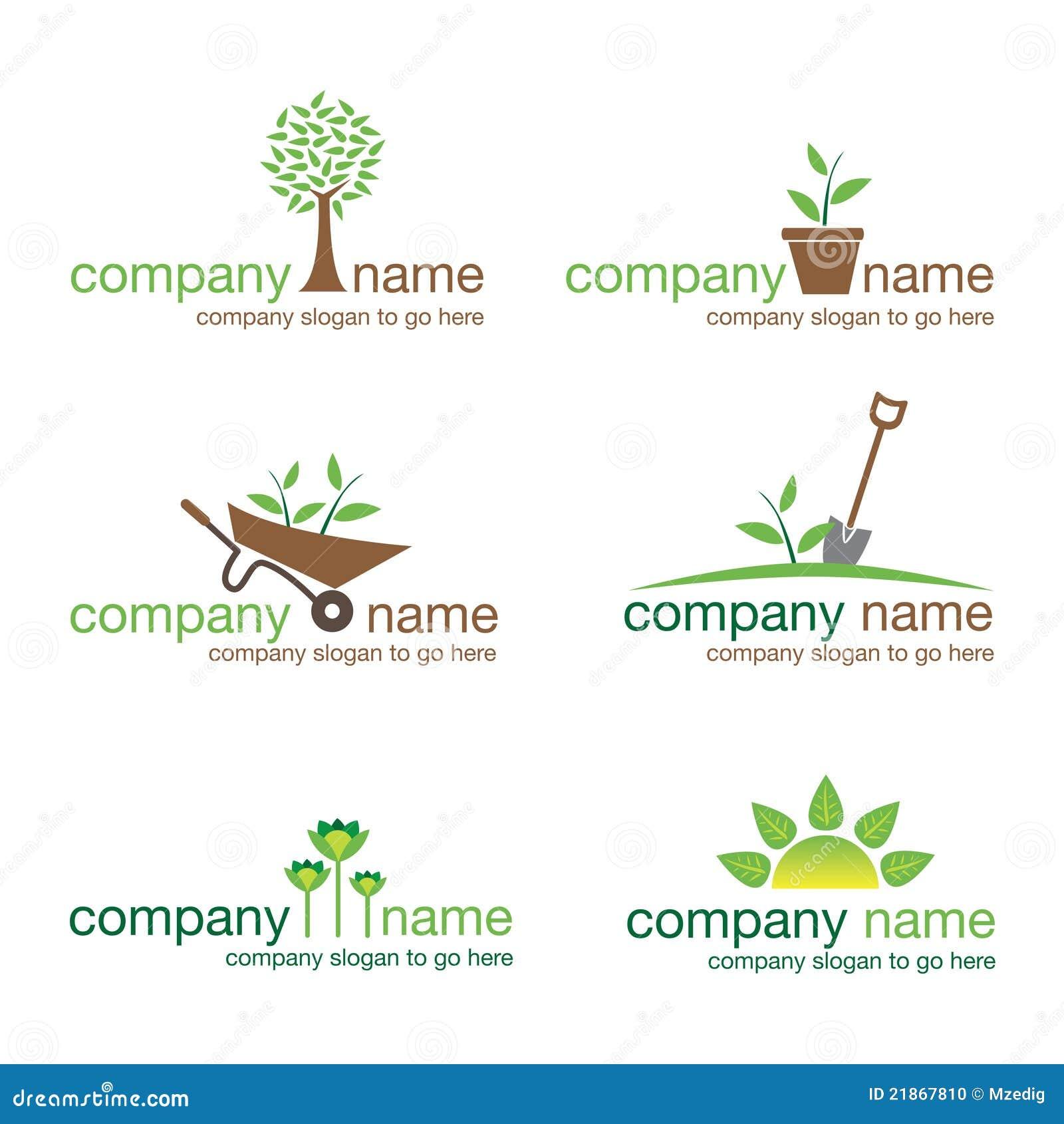 Set of six gardening and nature logos (vector)