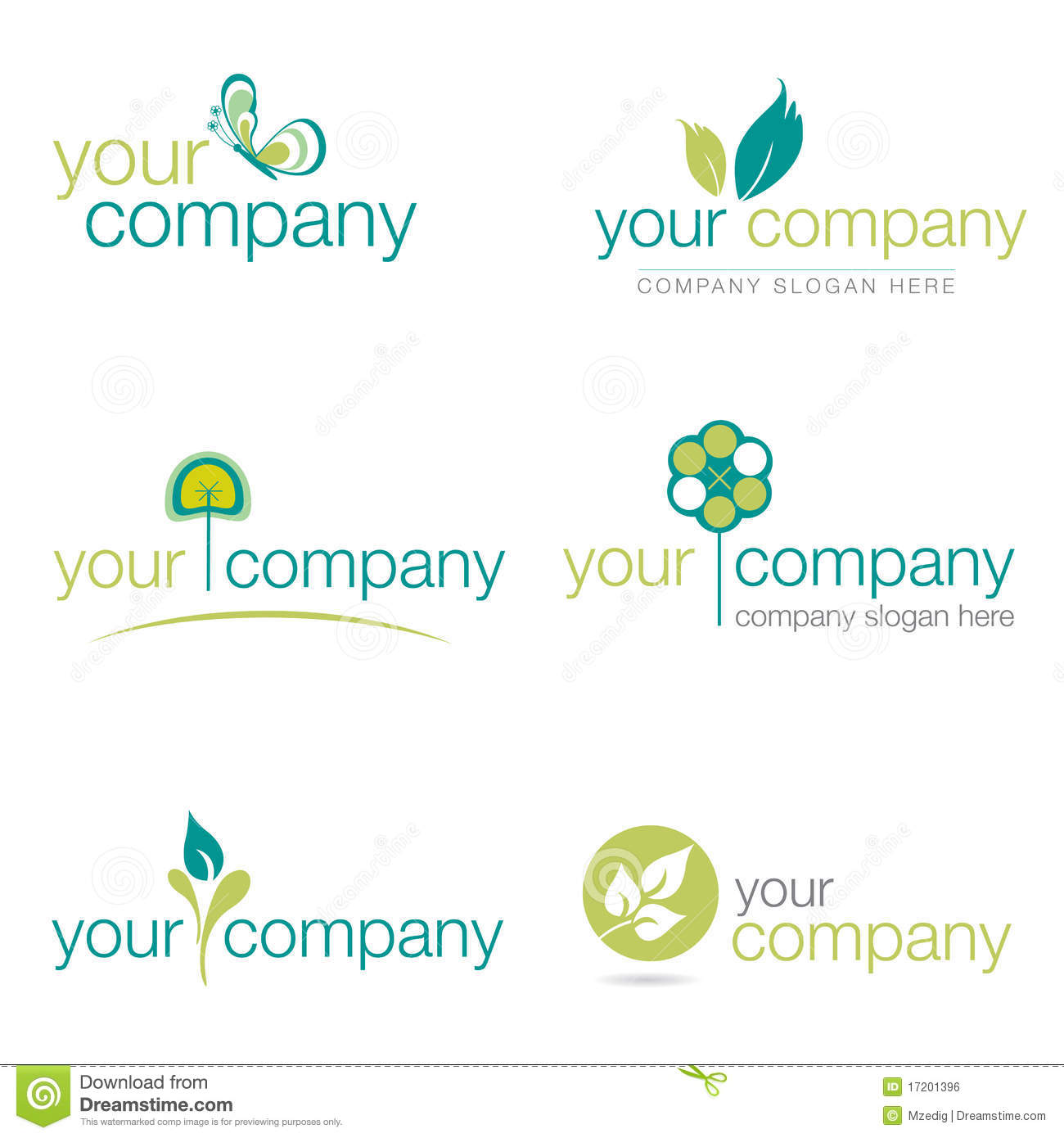 Set Of Six Nature And Gardening Logos (vector)