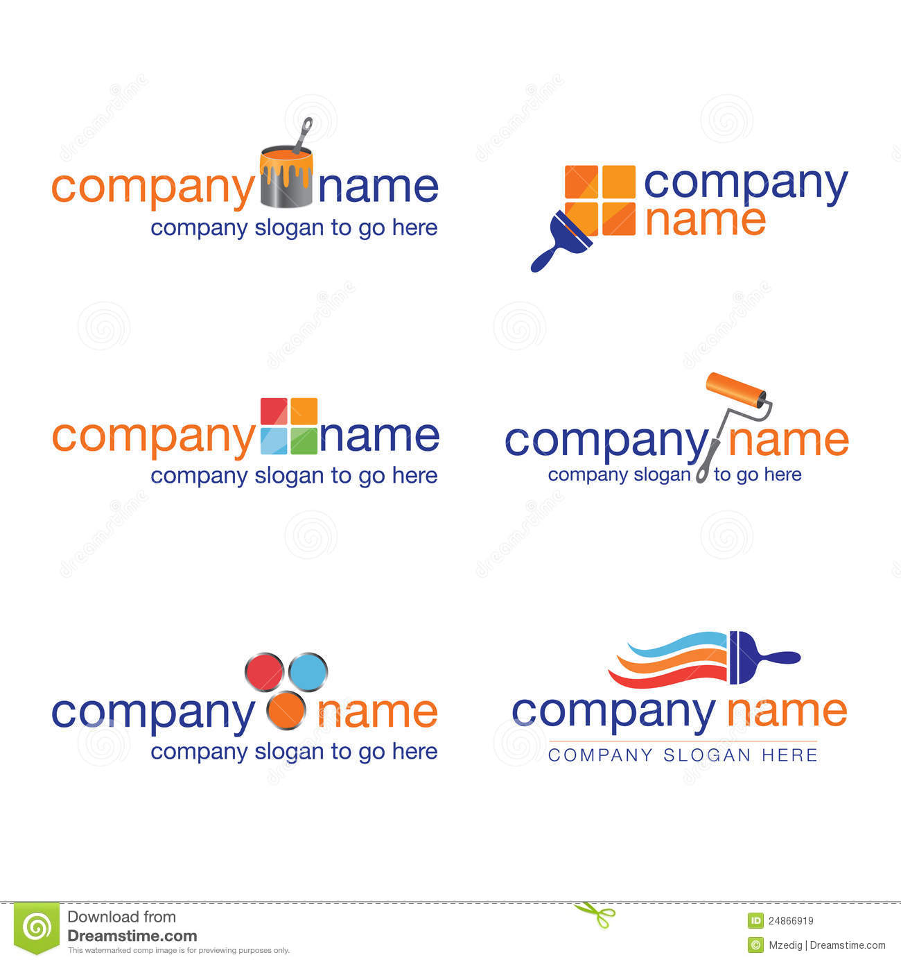 Set of six painter and decorator logos vector royalty for Painting and decorating logo ideas