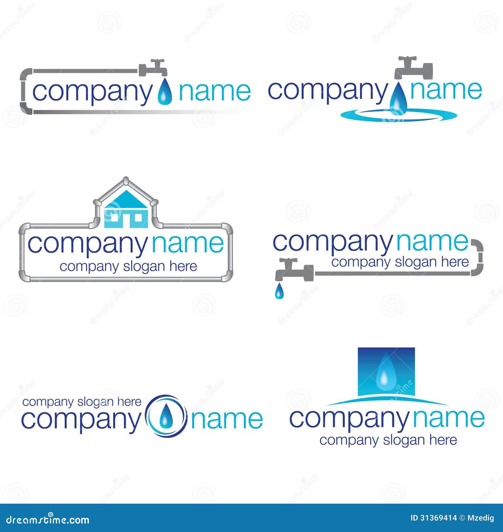 Set Of Six Plumbing And Water Logos (vector) Stock Vector ...