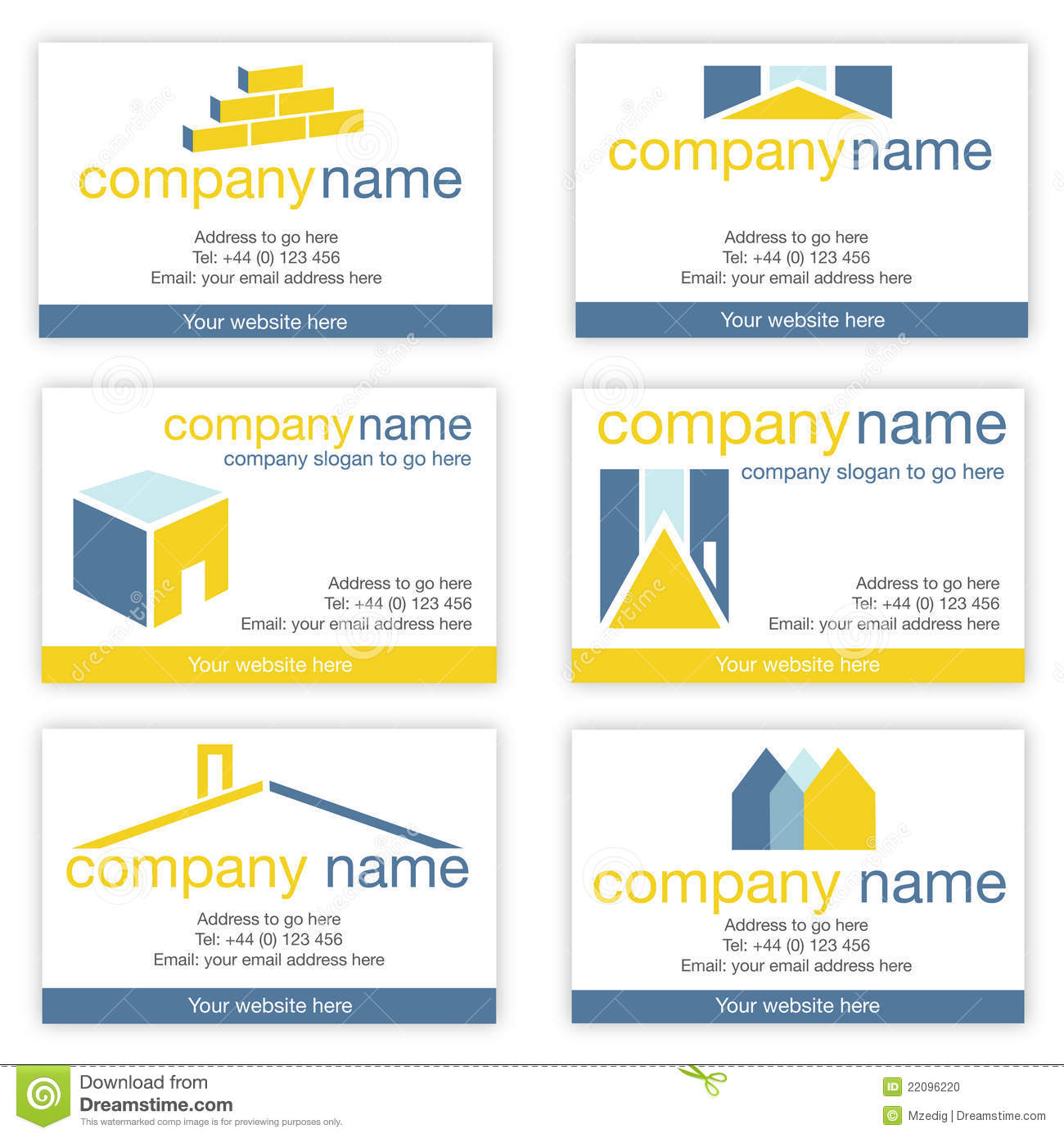 Set of six real estate or builders business cards stock vector set of six real estate or builders business cards colourmoves Images