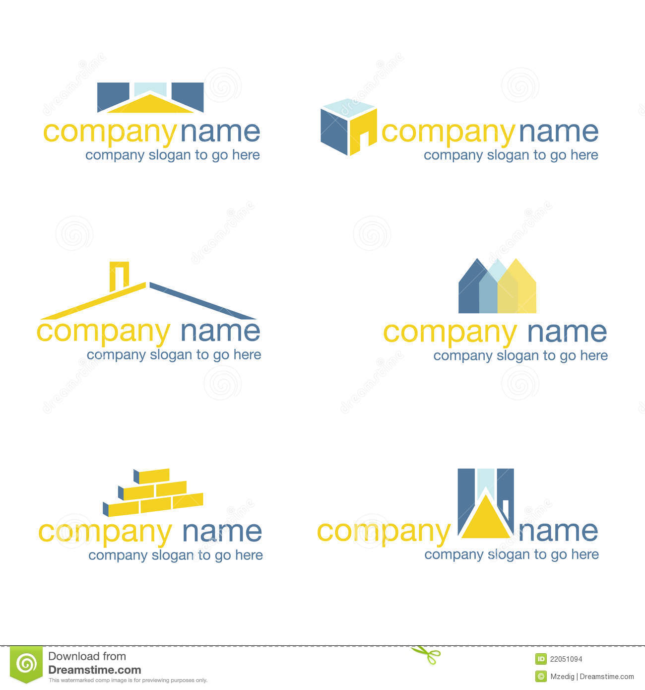 Set of six real estate logos vector stock vector illustration of set of six unique logos suitable for real estate and construction businesses illustrator format available please check my portfolio for matching business colourmoves