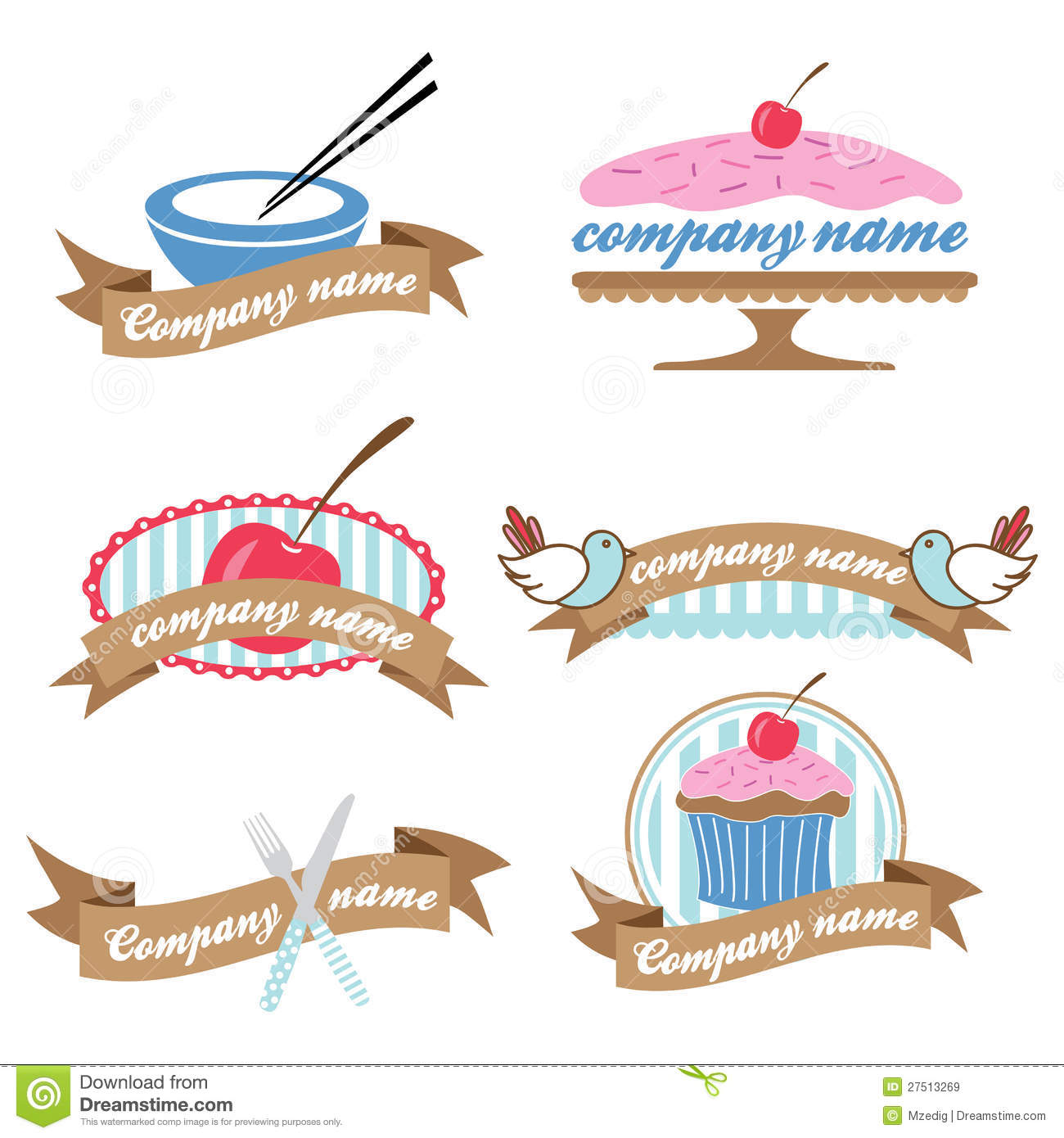 Set Of Six Retro Cookery Logos Vector Royalty Free Stock