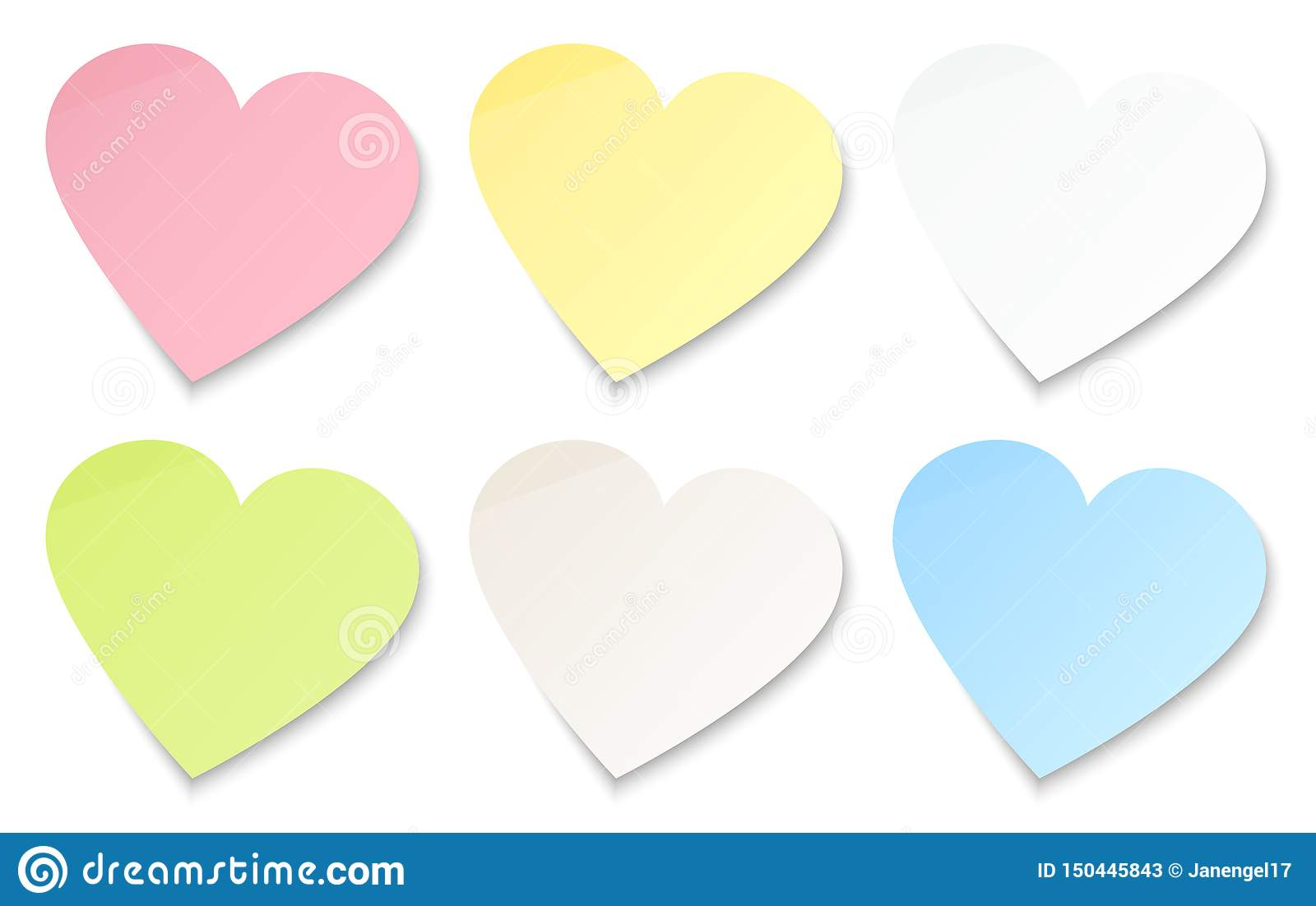 Set Of Six Sticky Notes Colorful Hearts