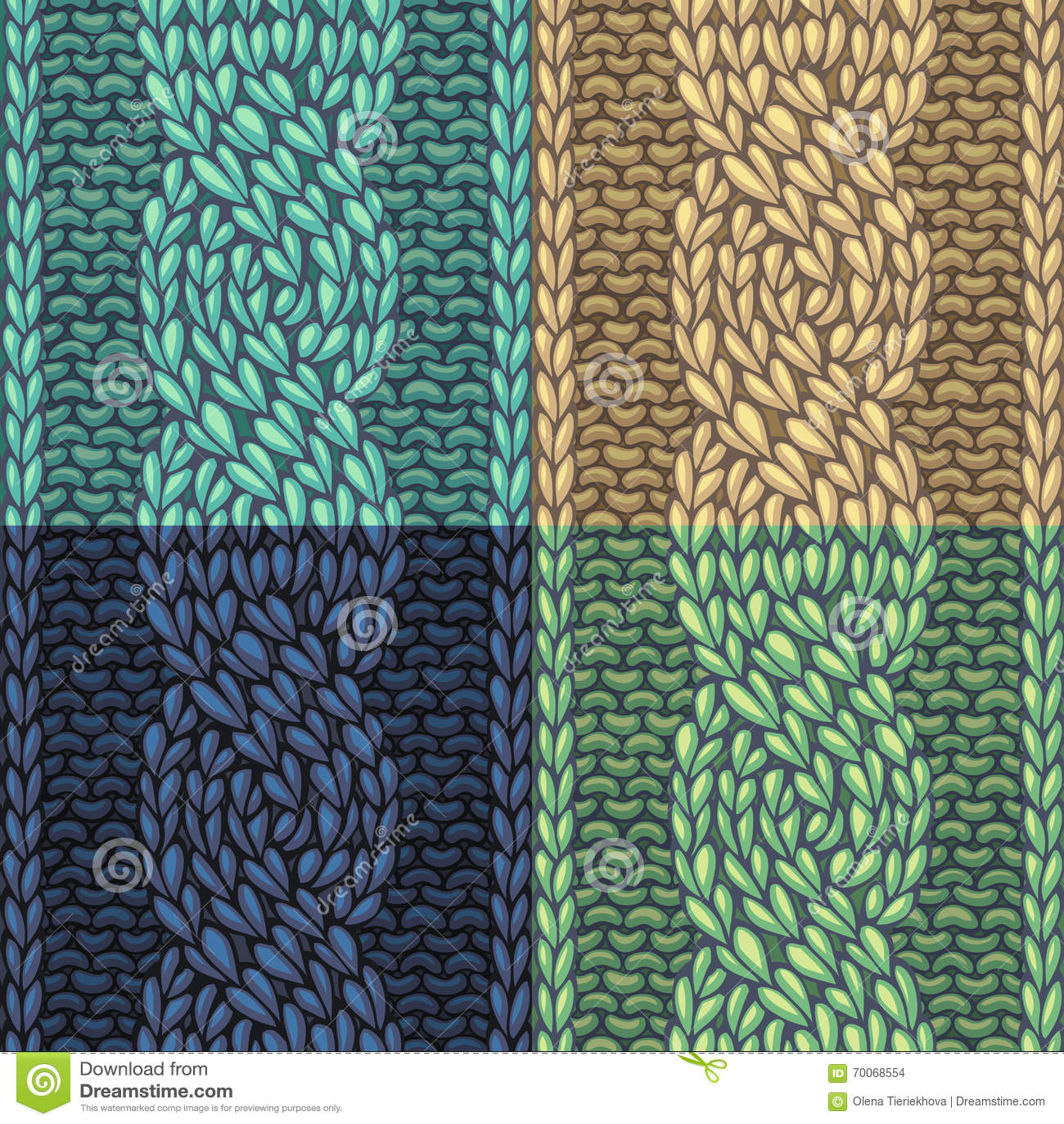 Set Of Six-Stitch Cable Stitch Patterns. Stock Vector - Illustration ...