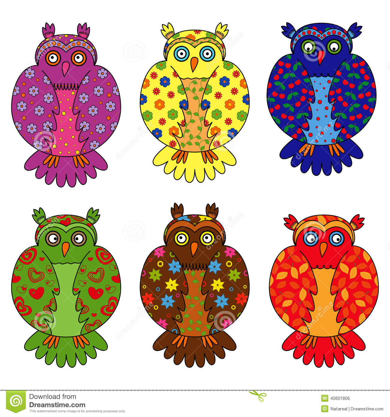 funny owl vector cute owl painted by hand colorful owl vector