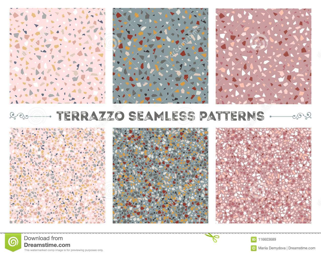 Terrazzo seamless patterns stock vector. Illustration of material ...