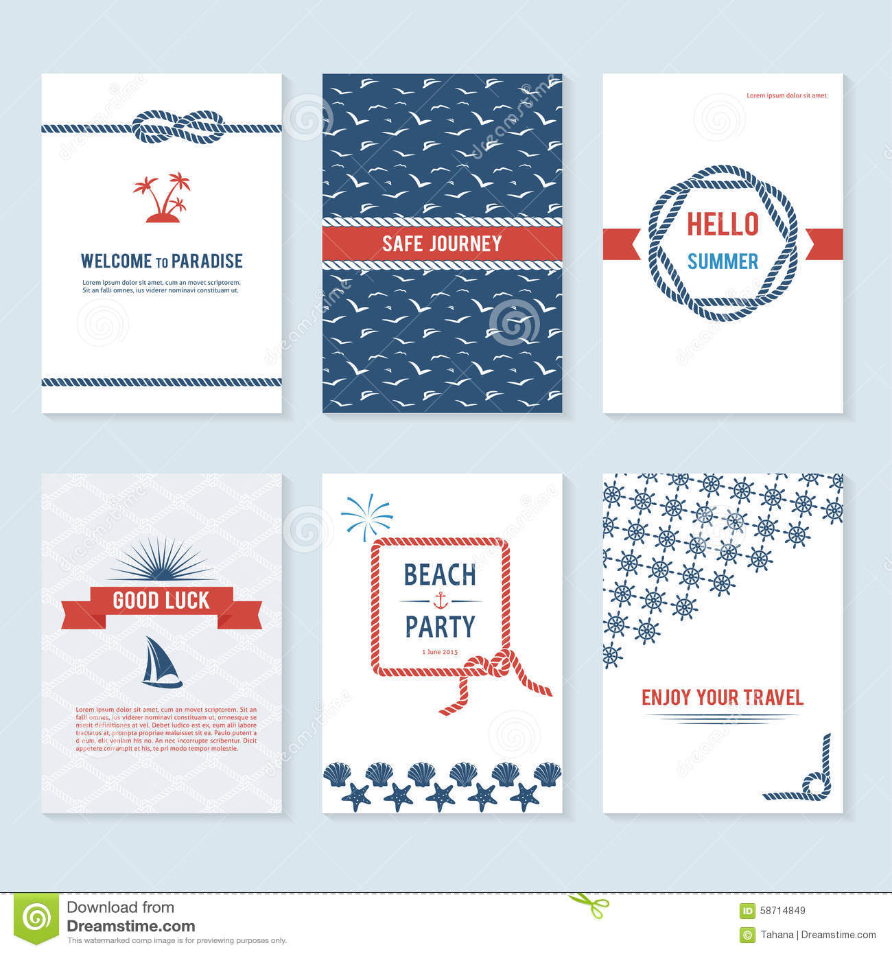 Set Of Six Vector Banner Templates In Marine Style Stock Vector ...