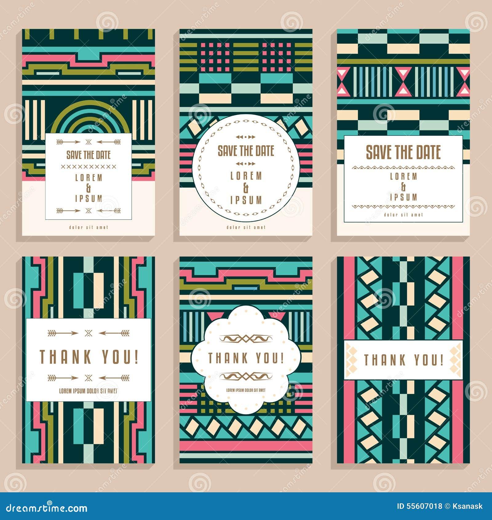 Art deco ornaments - Set Of Six Wedding Cards With Art Deco Ornaments