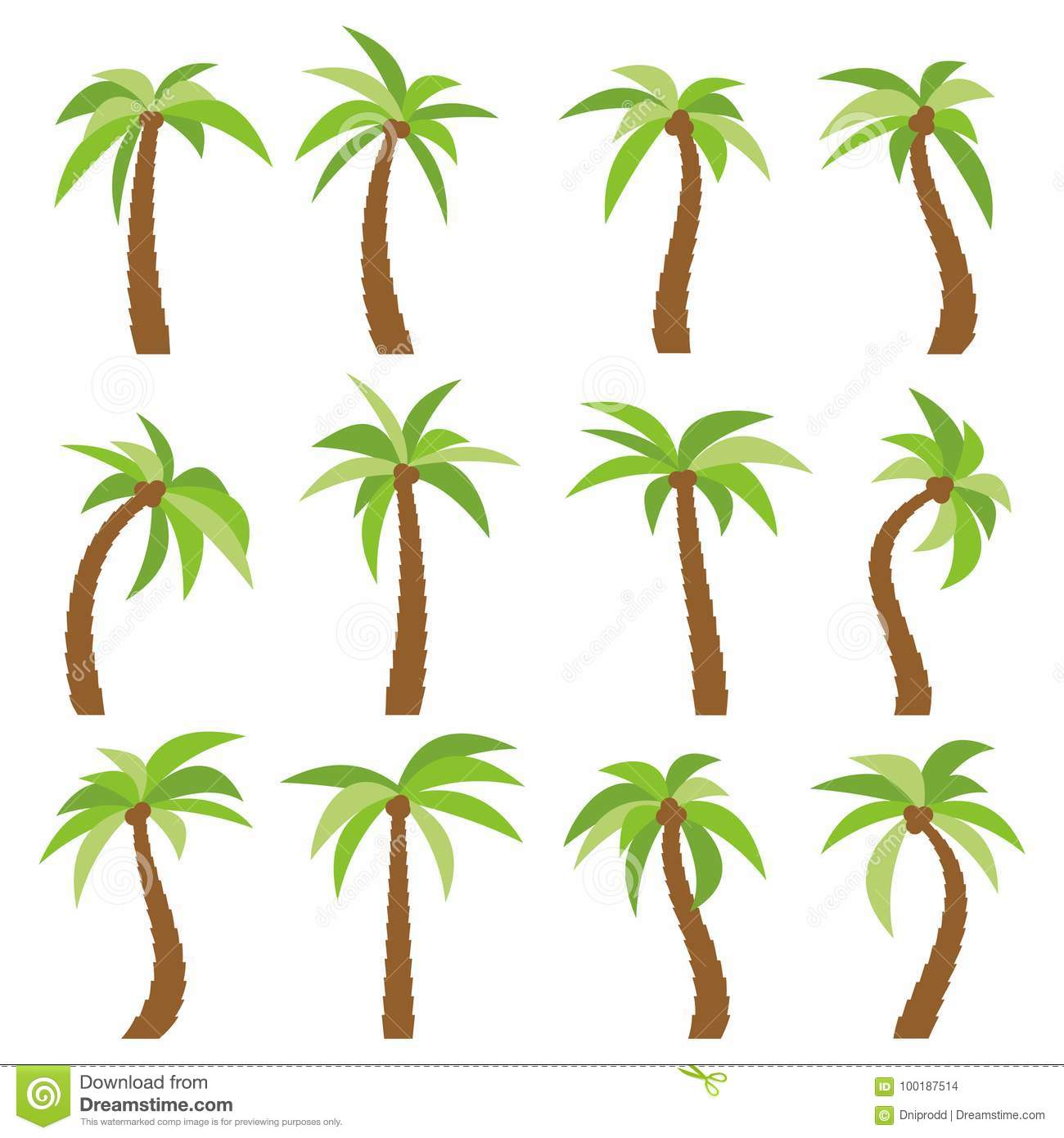 Set of sixteen different cartoon palm trees on white background
