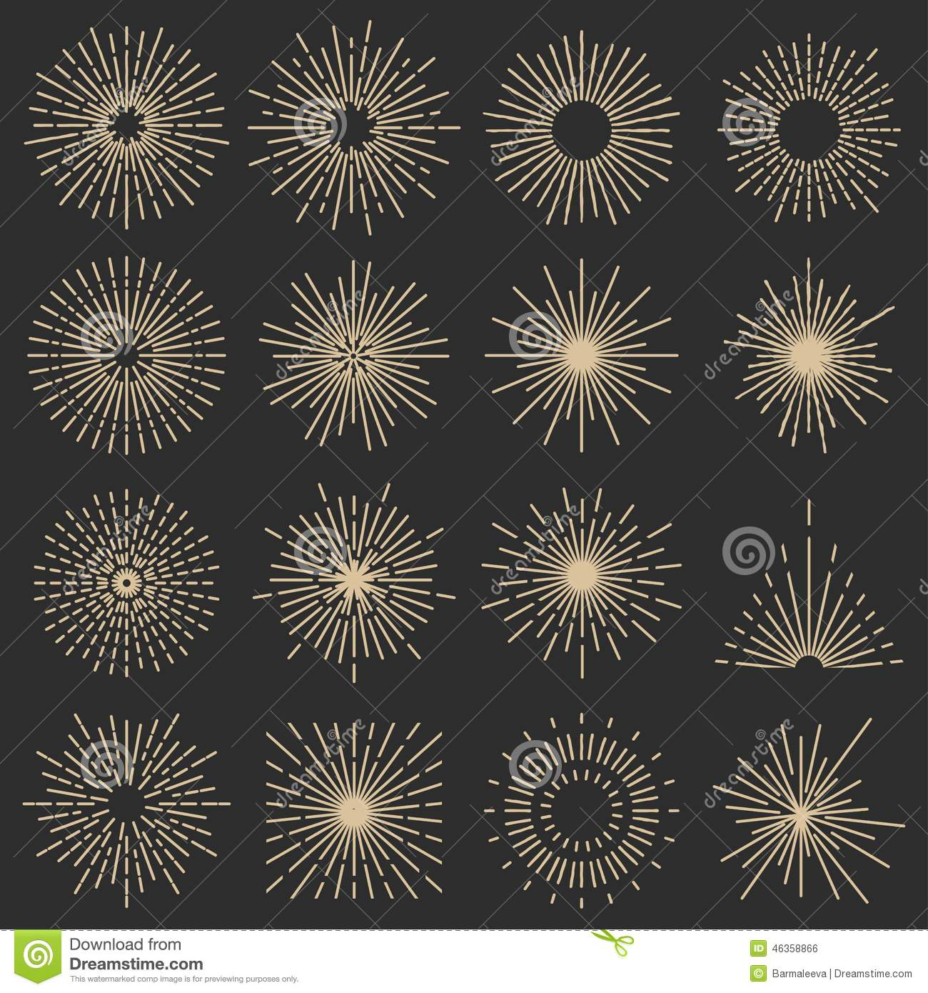 Set Of Sixteen Line Light Rays Stock Vector - Illustration: 46358866 for Vector Light Rays Vintage  76uhy