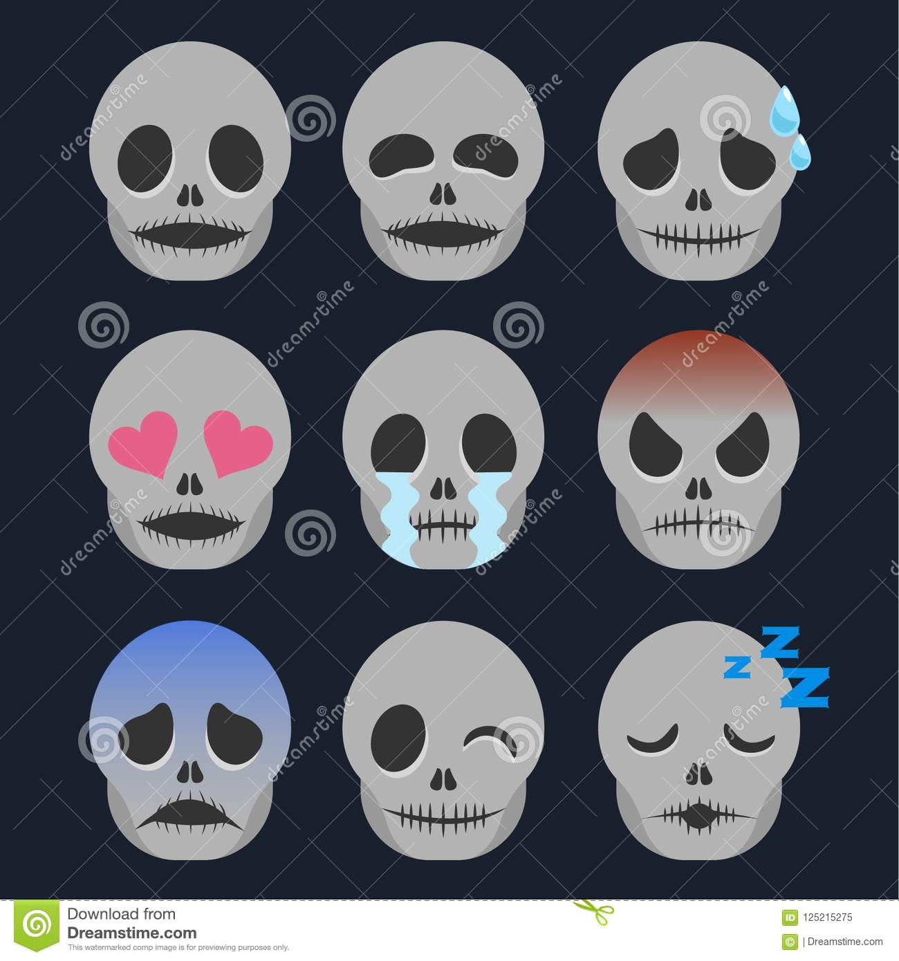 Set Of Skeleton Emoticon Sticker Isolated Stock Vector