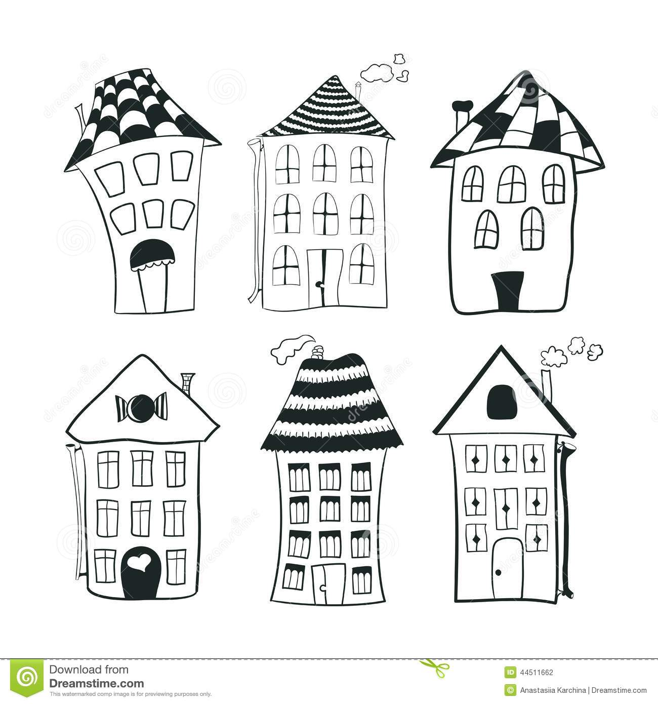 Set sketch black and white outline houses in
