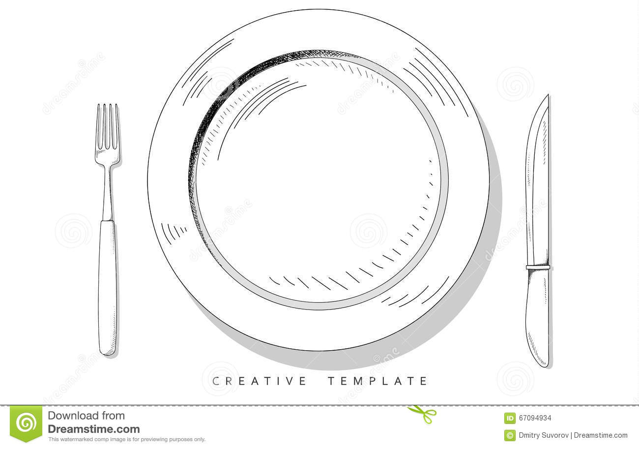 Set sketch cutlery plate fork and knife template for for Nameplate template free