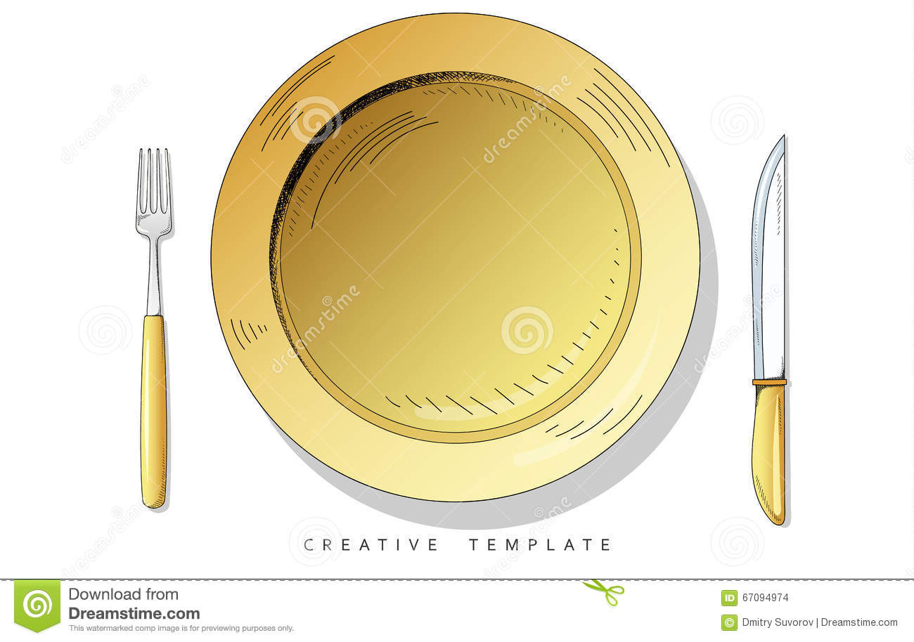 set sketch cutlery plate fork and knife template for presentation