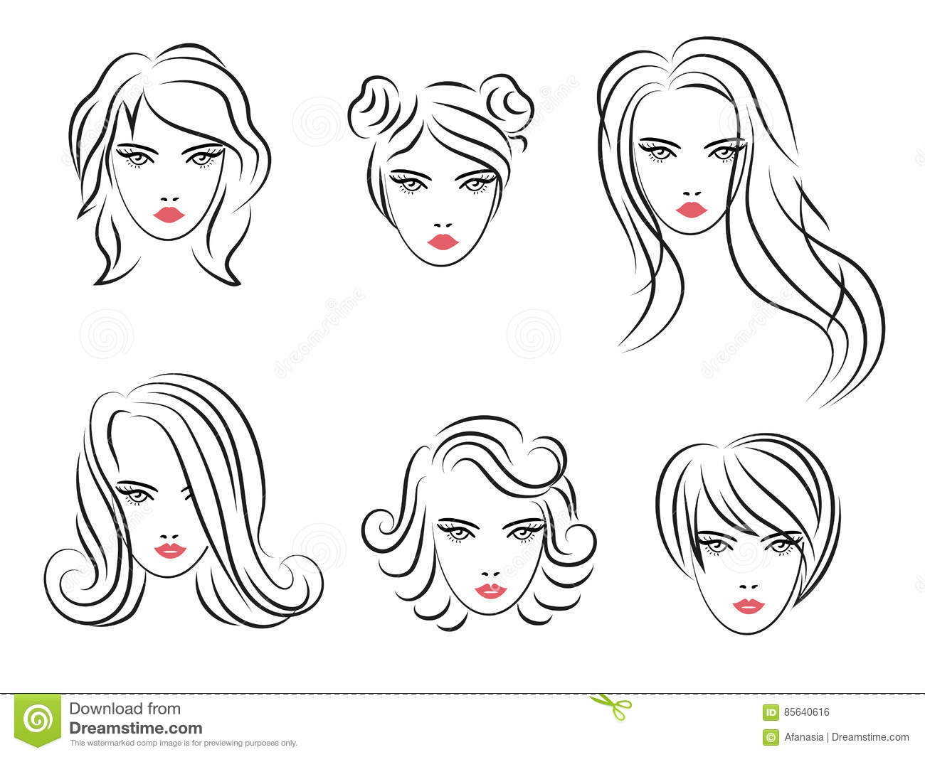 Set of sketch hairstyles for women