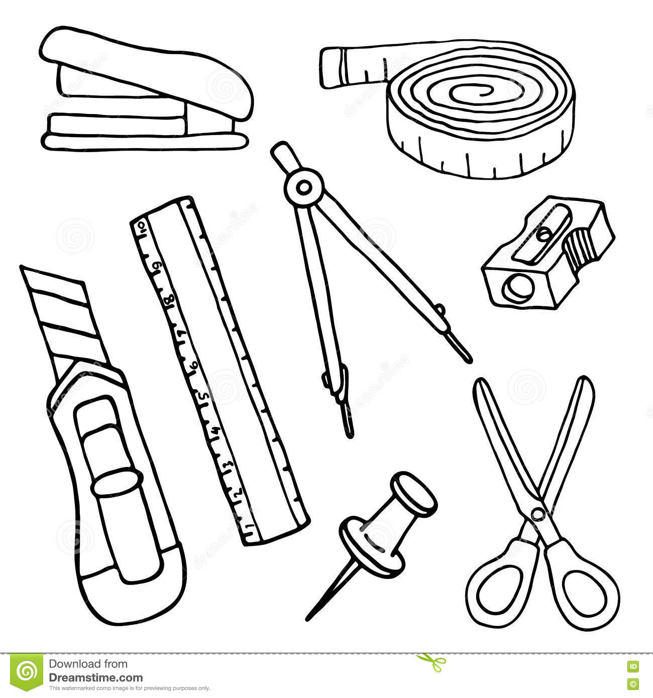 Set Of Sketch Stationery Items And School Supplies Stock