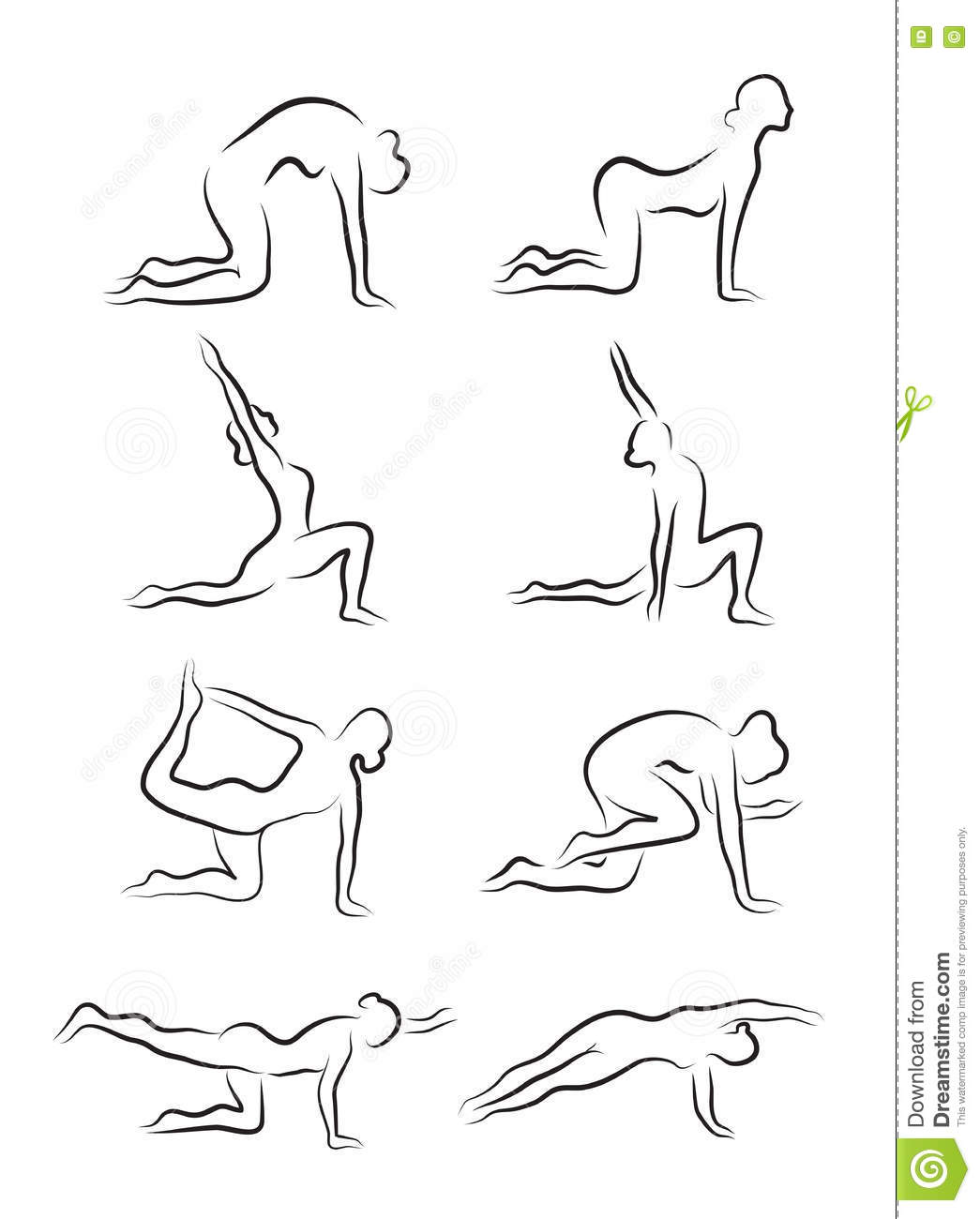 Set of sketches of silhouettes of yoga asanas the girl is engaged