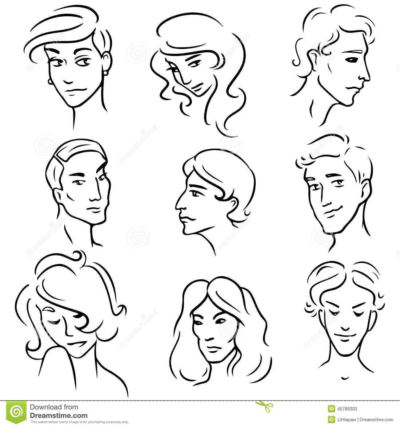 set of sketches various people faces stock vector illustration of