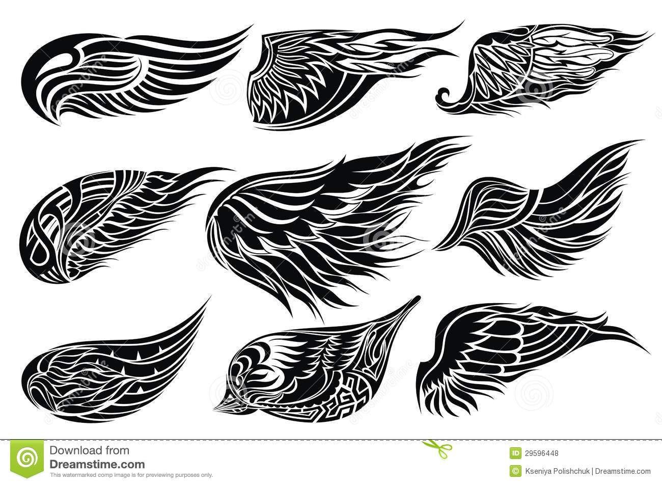 Set Sketches Of Wings.Tattoo Design Stock Vector ... - photo#16