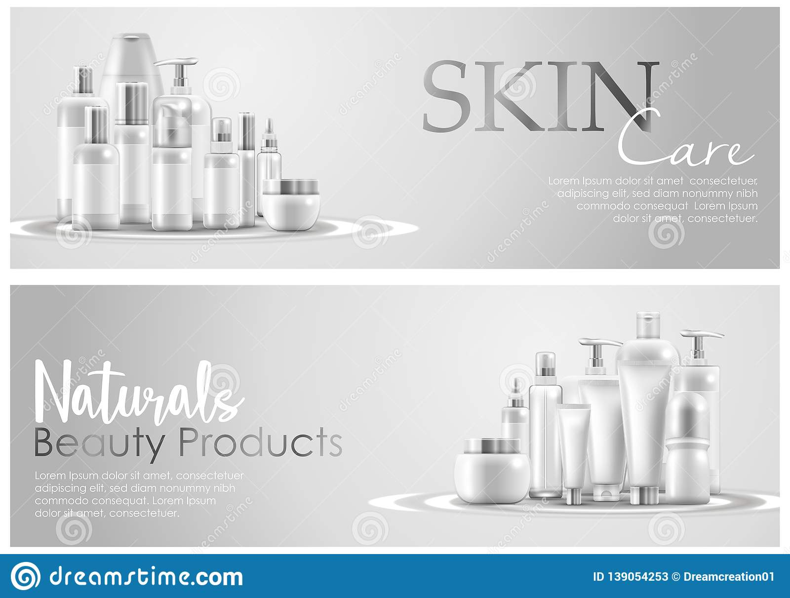 Set Of Skin Care Natural Beauty Product Packaging Banner Stock Vector Illustration Of Illustration Beautiful 139054253