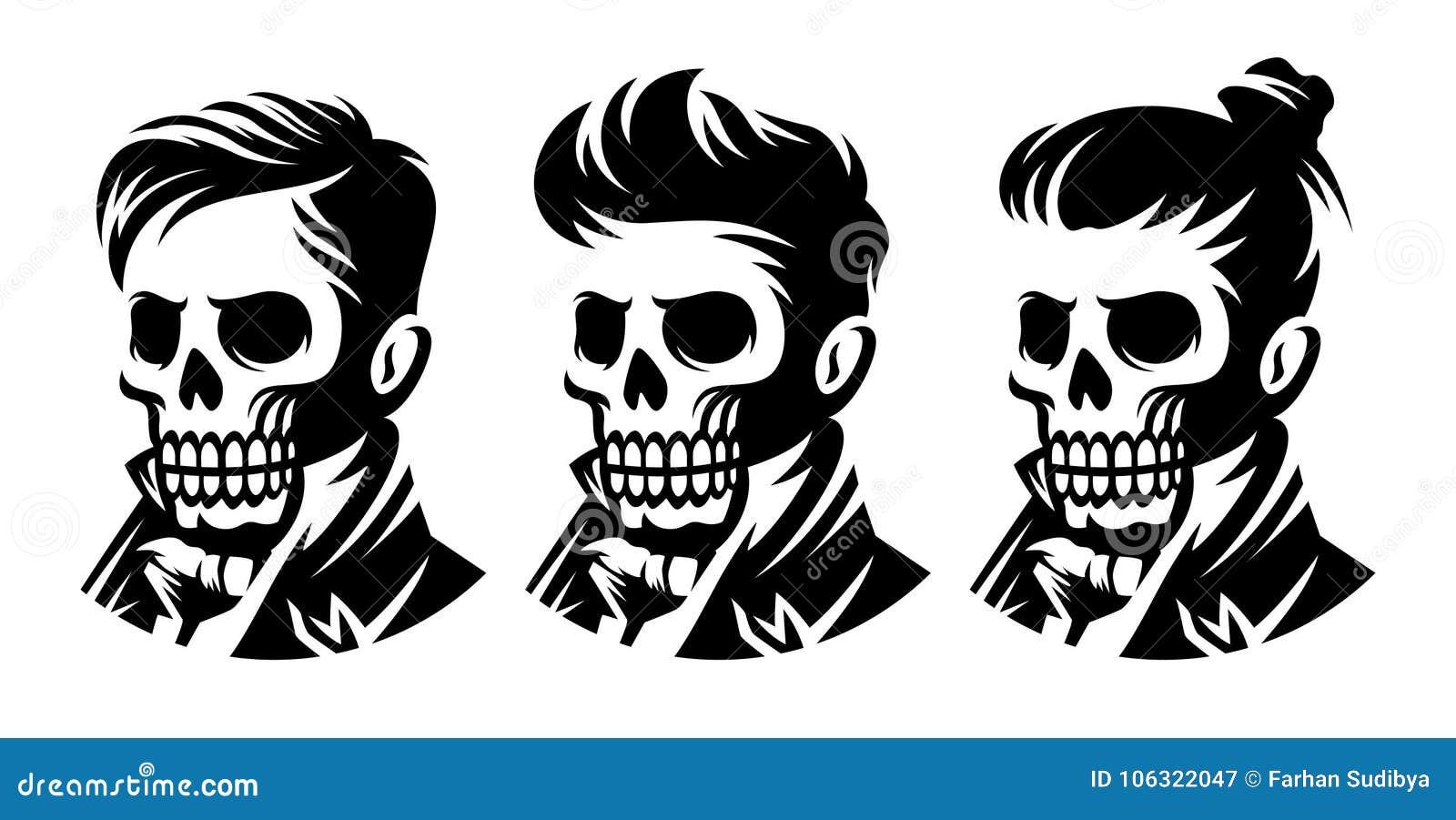 Set Skull Barbershop Victorian Hairstyle Haircut Illustration Stock