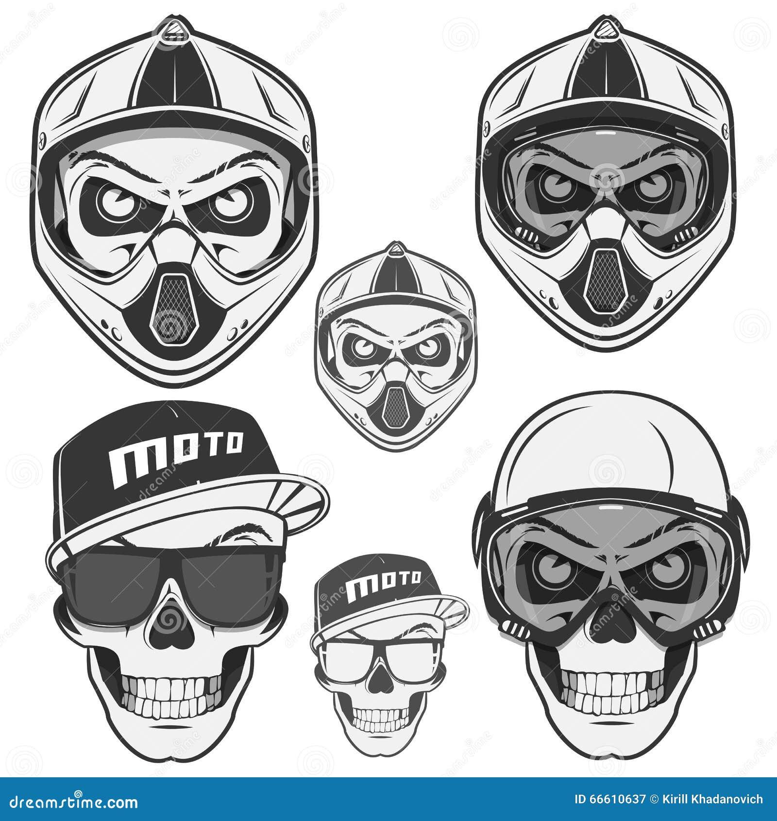 Set Of Skull Helm Biker And Motosport.sport Stock Vector ...