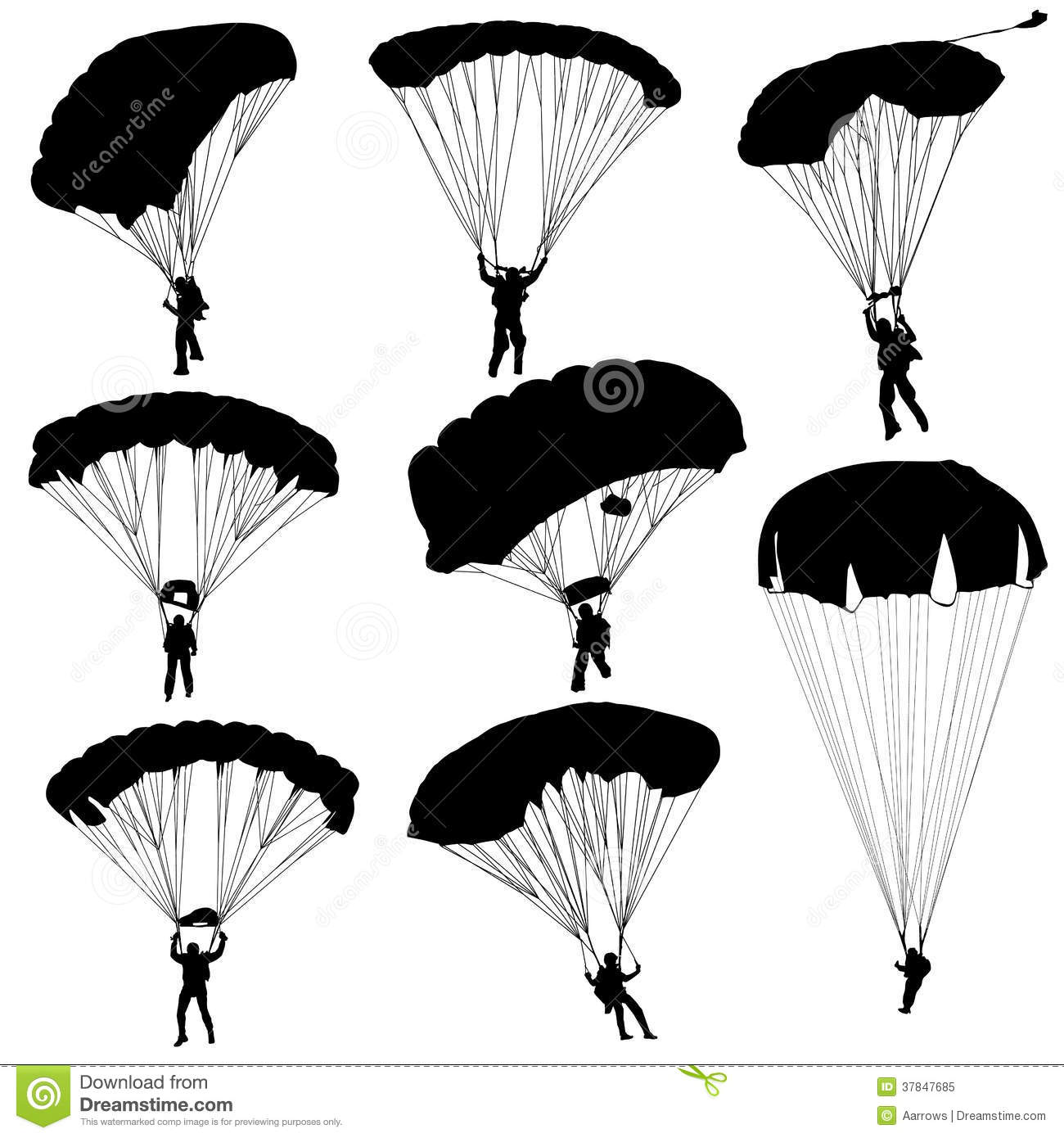 Set Skydiver Silhouettes Parachuting Vector Stock Vector