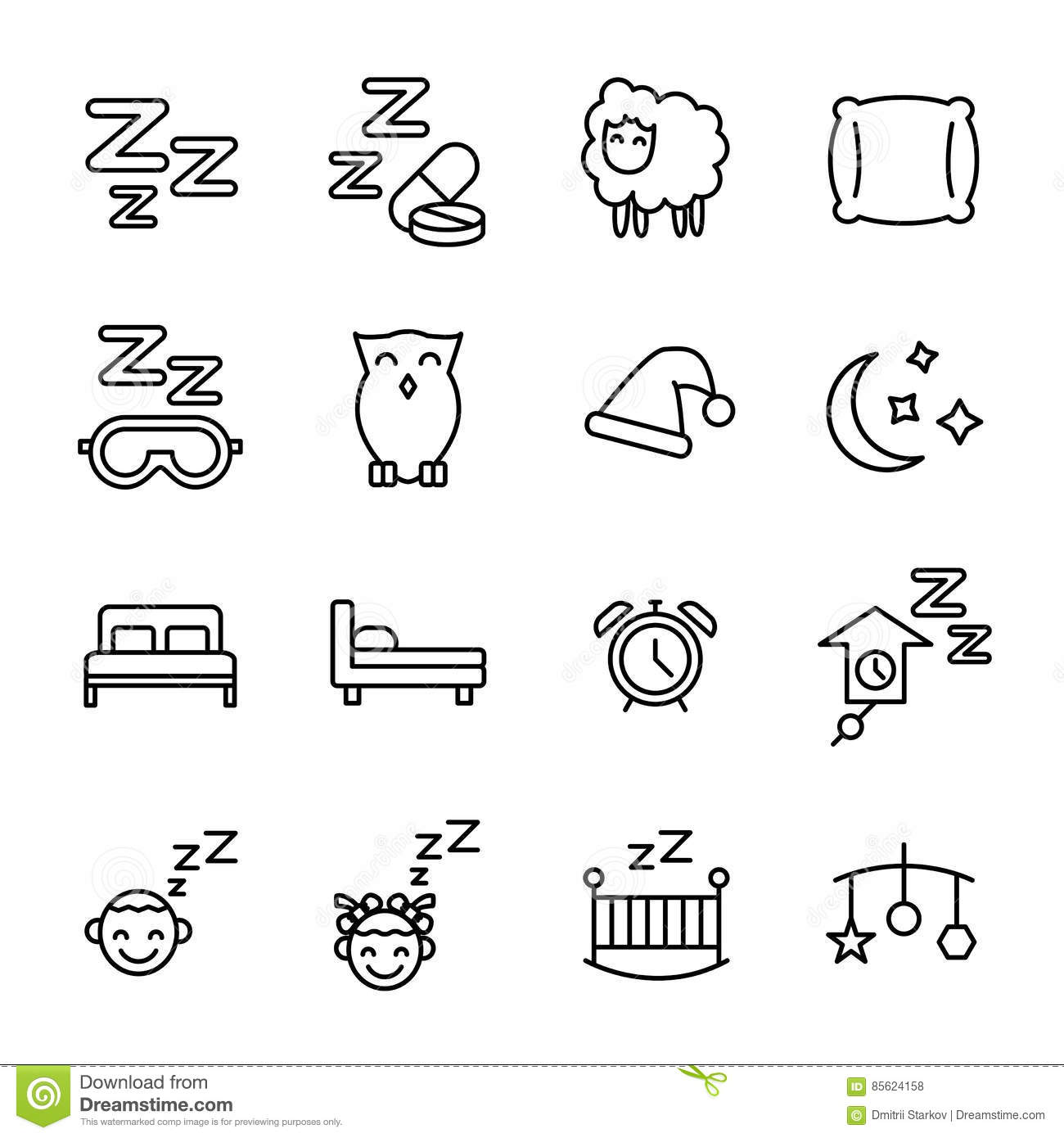 Set Of Sleep Icons In Modern Thin Line Style Stock Vector