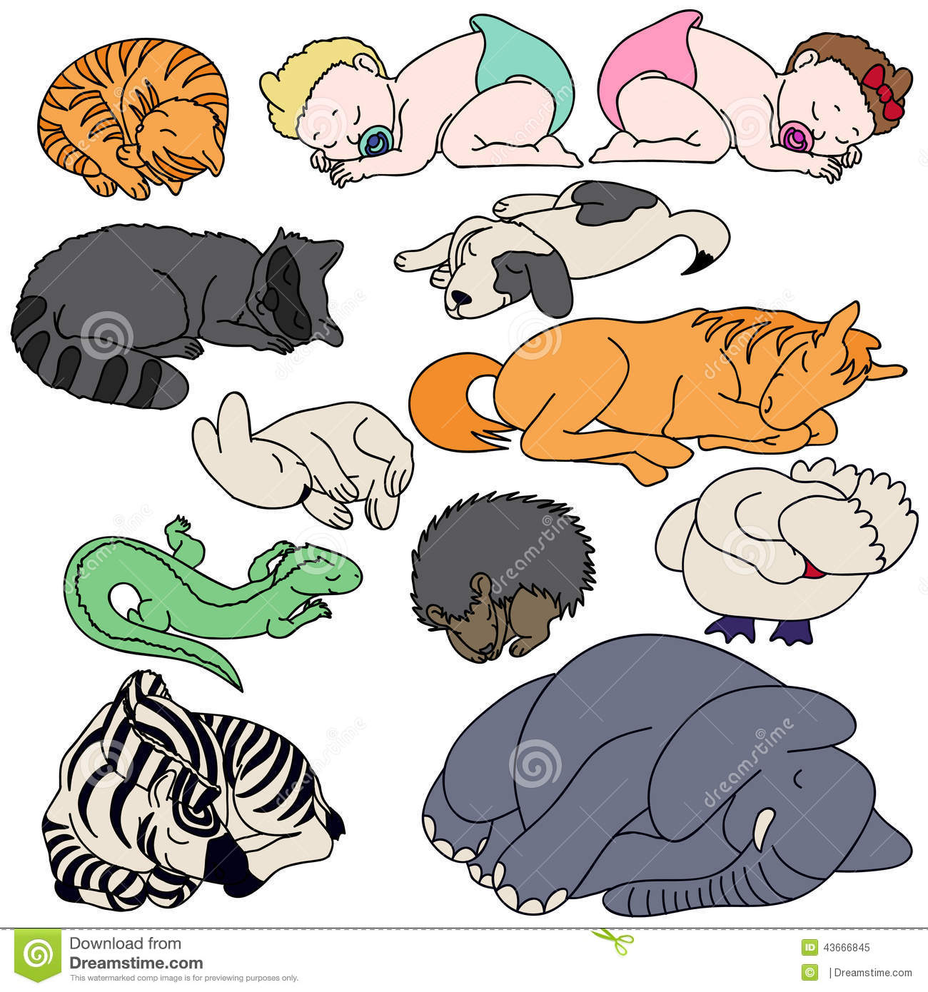 Set Of Sleeping Animals And Baby Stock Illustration ...