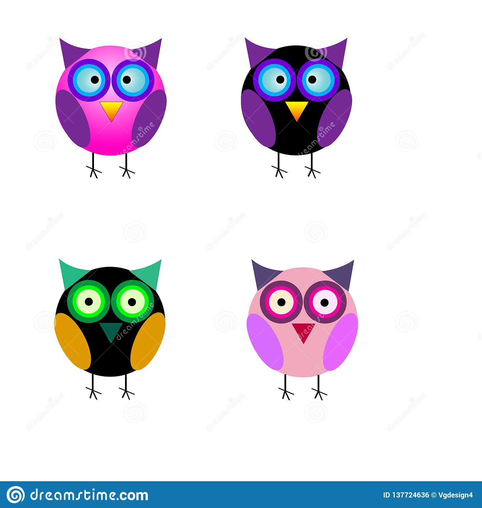 Set of small cute cartoon colorful isolated owls
