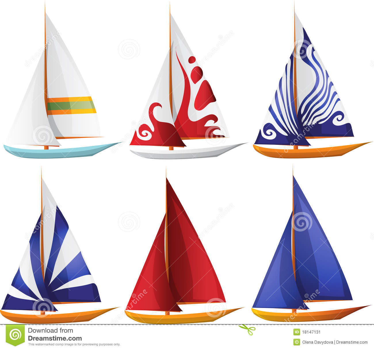 Set of Small Sailing Boats stock vector. Illustration of journey - 18147131