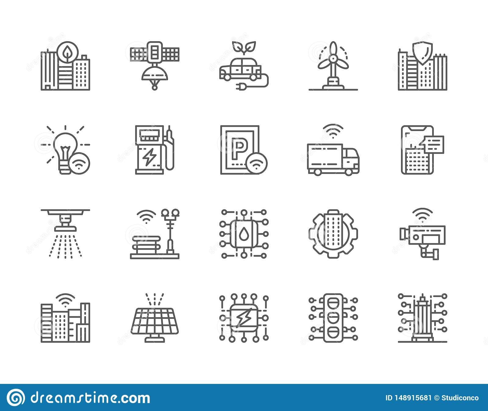 Set of Smart City Line Icons. Clean Town, Space Satellite Station and more.